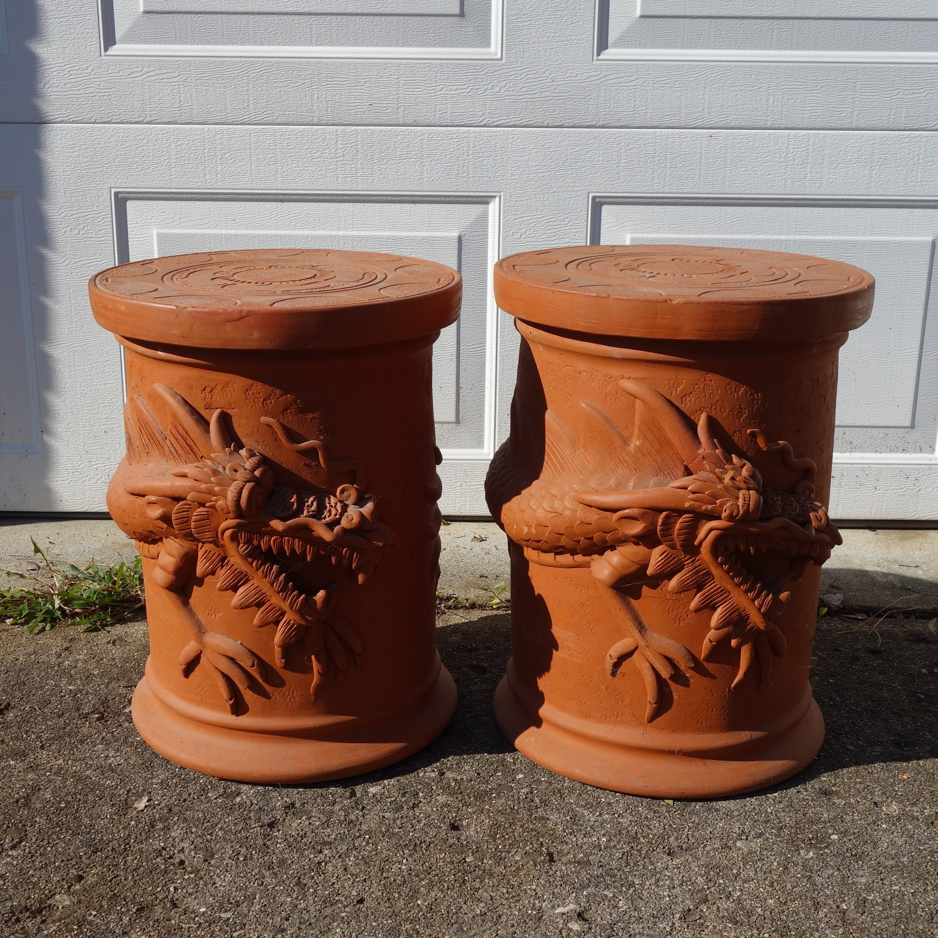Terra Cotta Chinese Style Dragon Relief Garden Tables