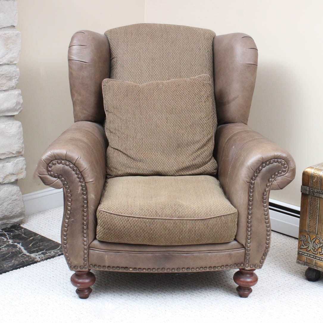 Leather and Fabric Armchair by Klaussner
