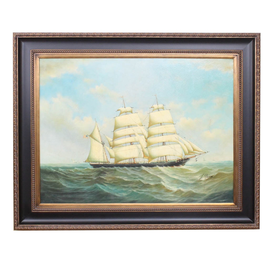 Majestic Auto Sales >> H. Parker Contemporary Nautical Oil Painting on Canvas : EBTH