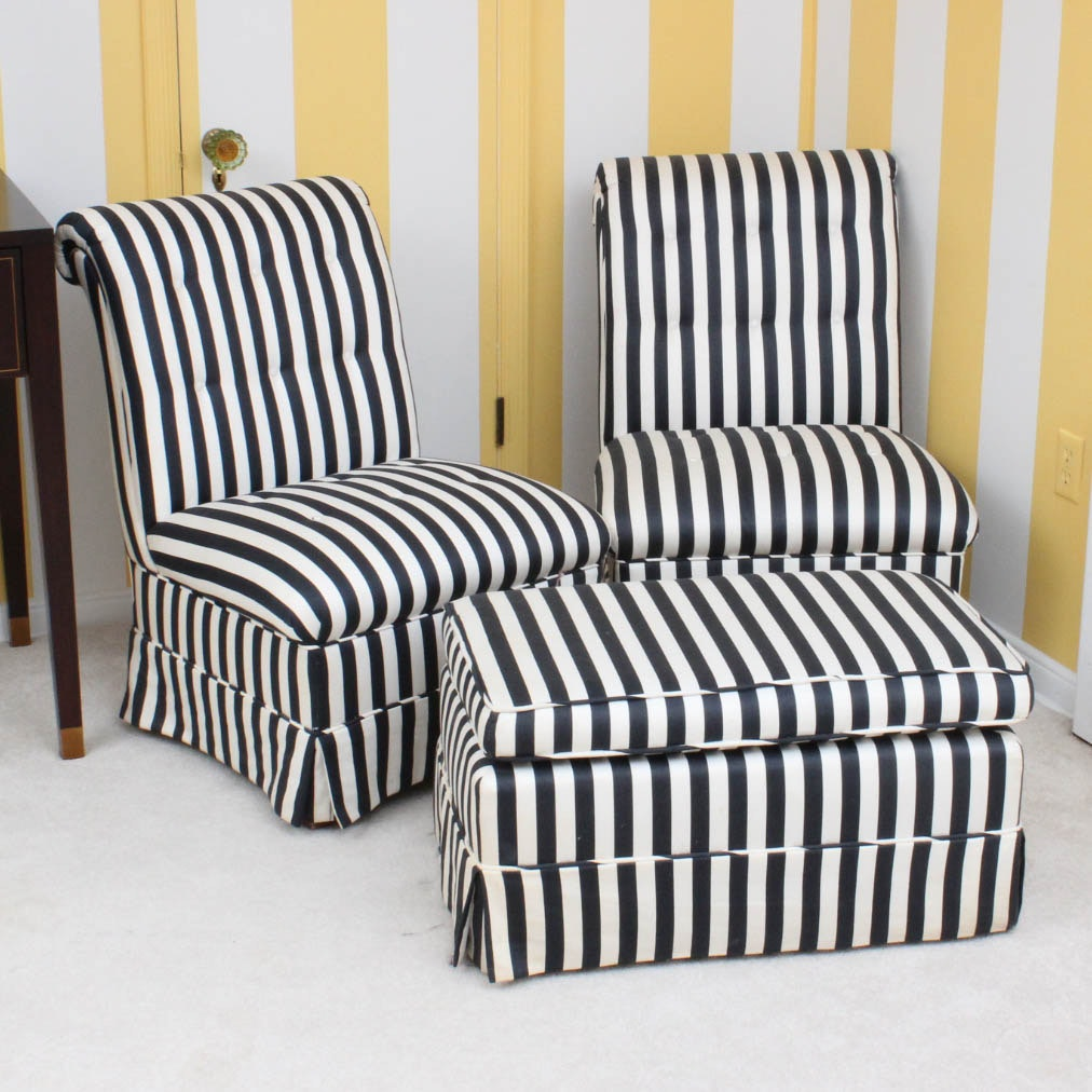 Black and White Striped Slipper Chairs and Ottoman