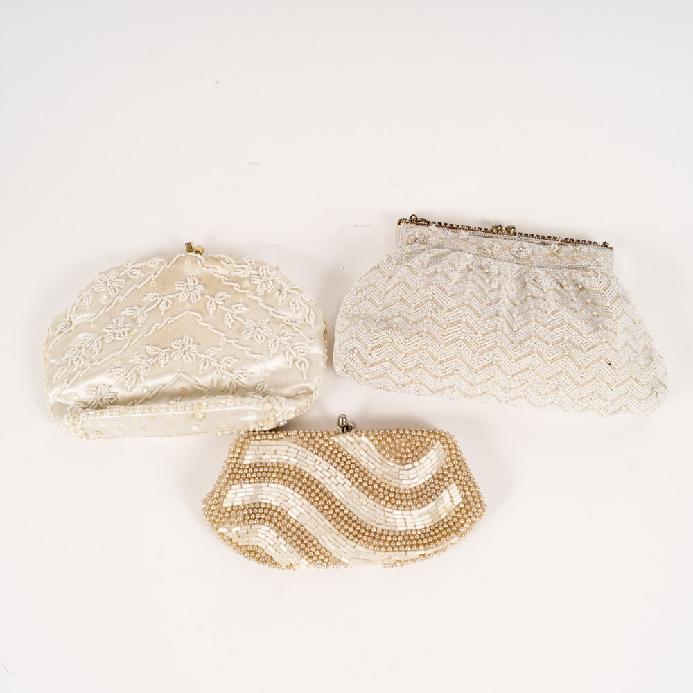 Collection of White Beaded Evening Bags