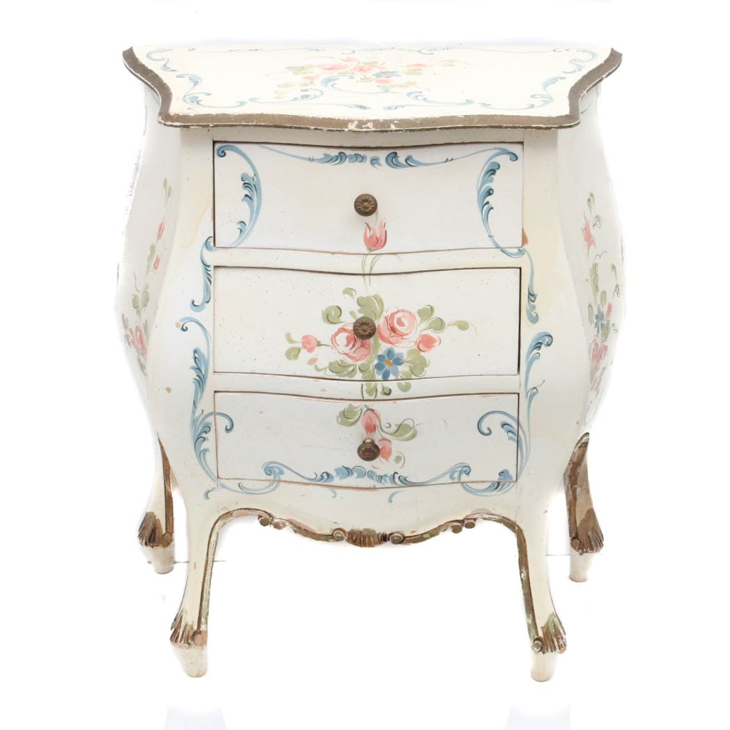 Vintage Hand Painted Wood Bombe Side Table