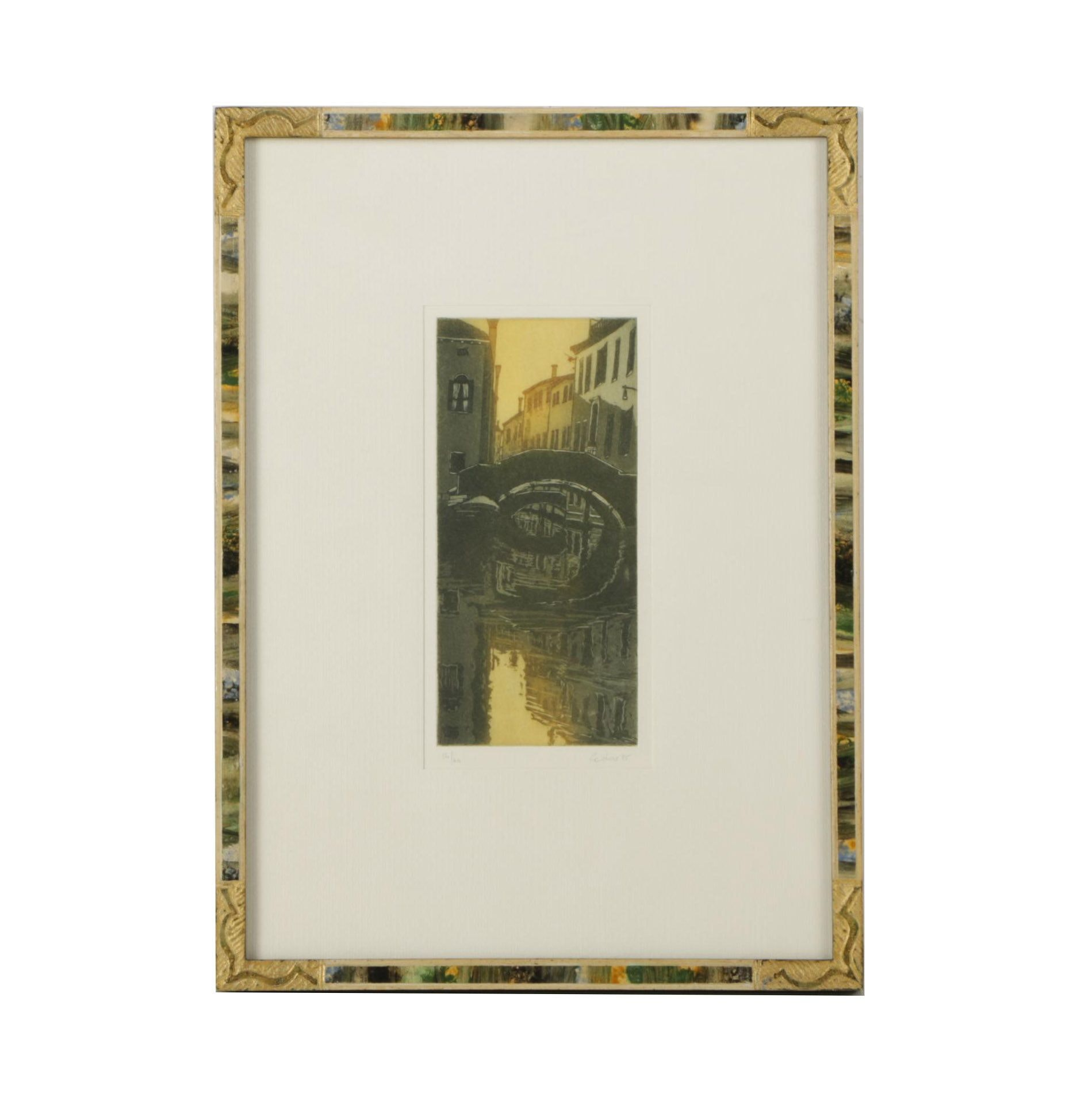 Cadore Limited Edition Etching with Aquatint of Venetian Canal Scene