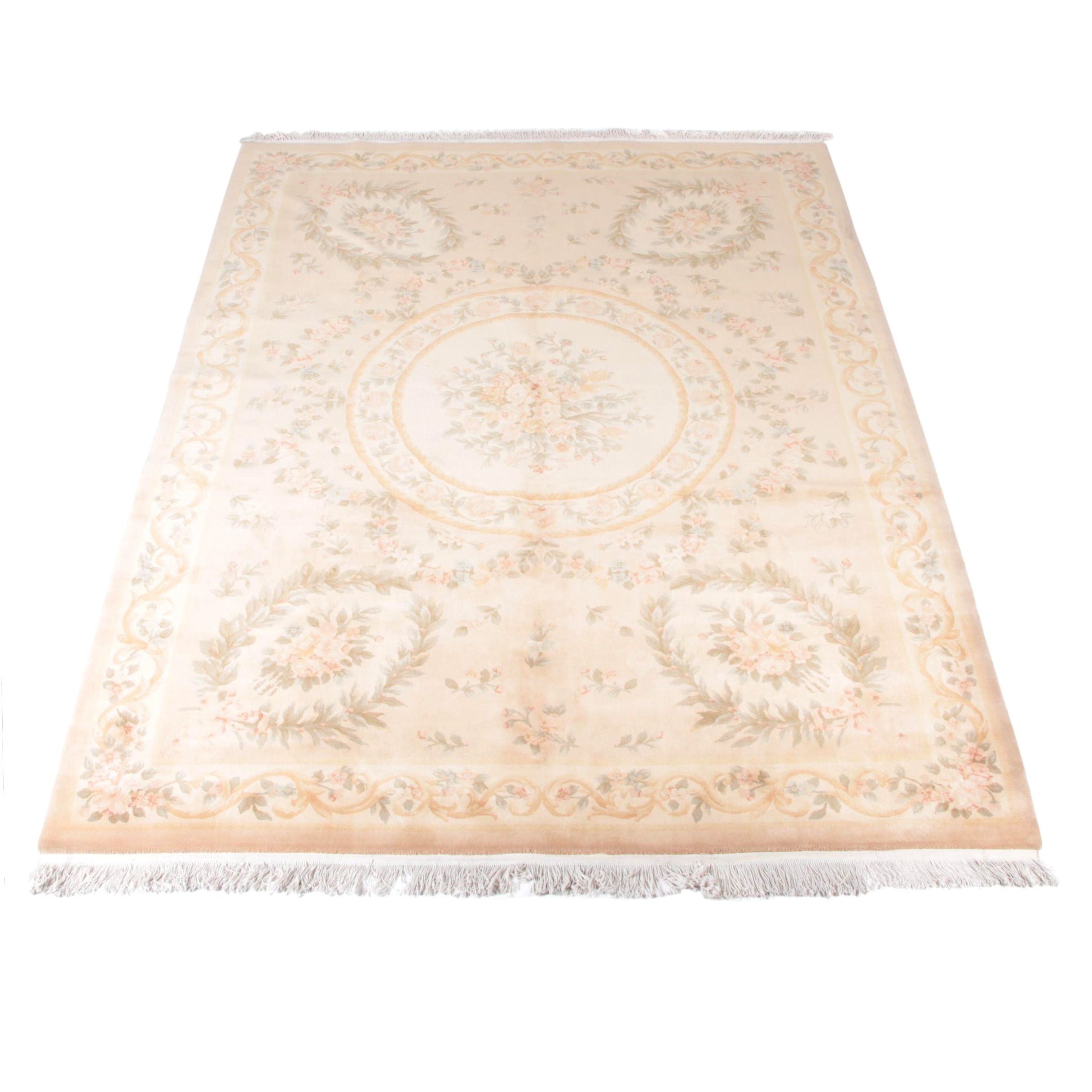 """Hand-Knotted Chinese """"Aubusson"""" Wool Area Rug"""