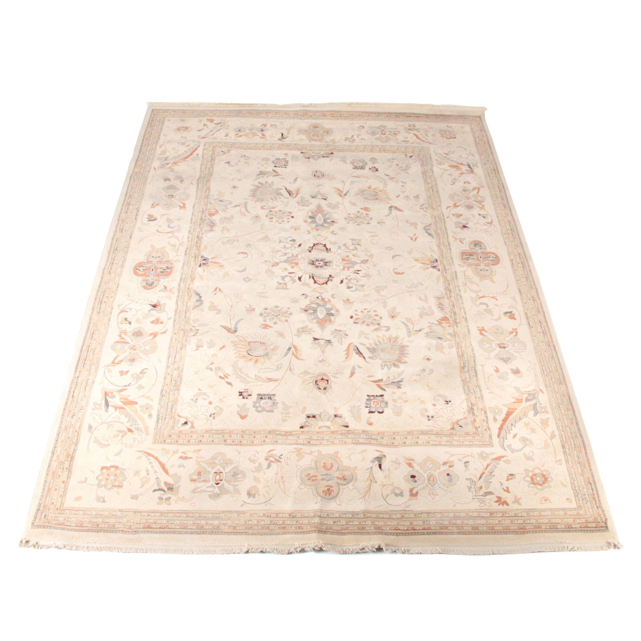 Power-Loomed Peshawar Style Carved Wool Area Rug