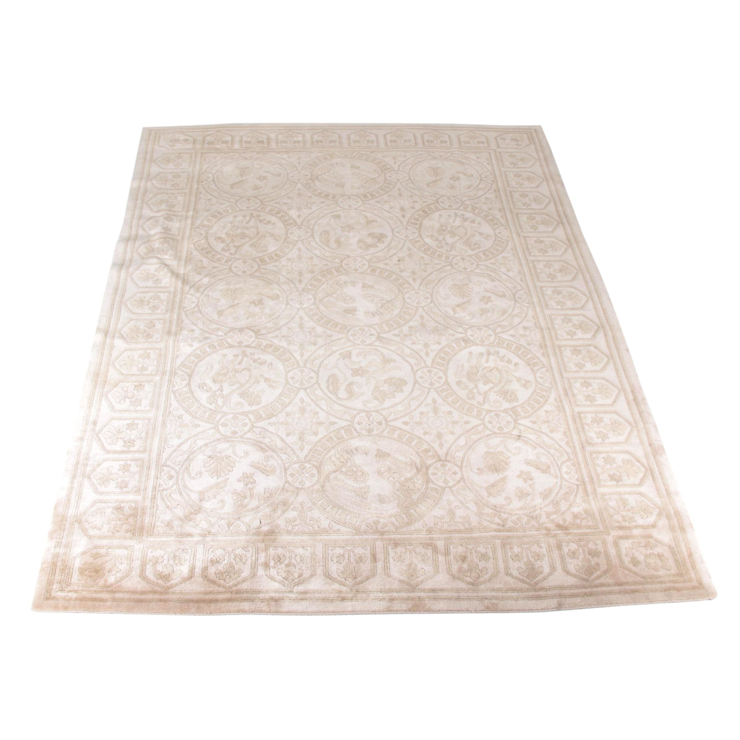 Hand-Knotted Indo-Tibetan Medallion Carved Wool Area Rug