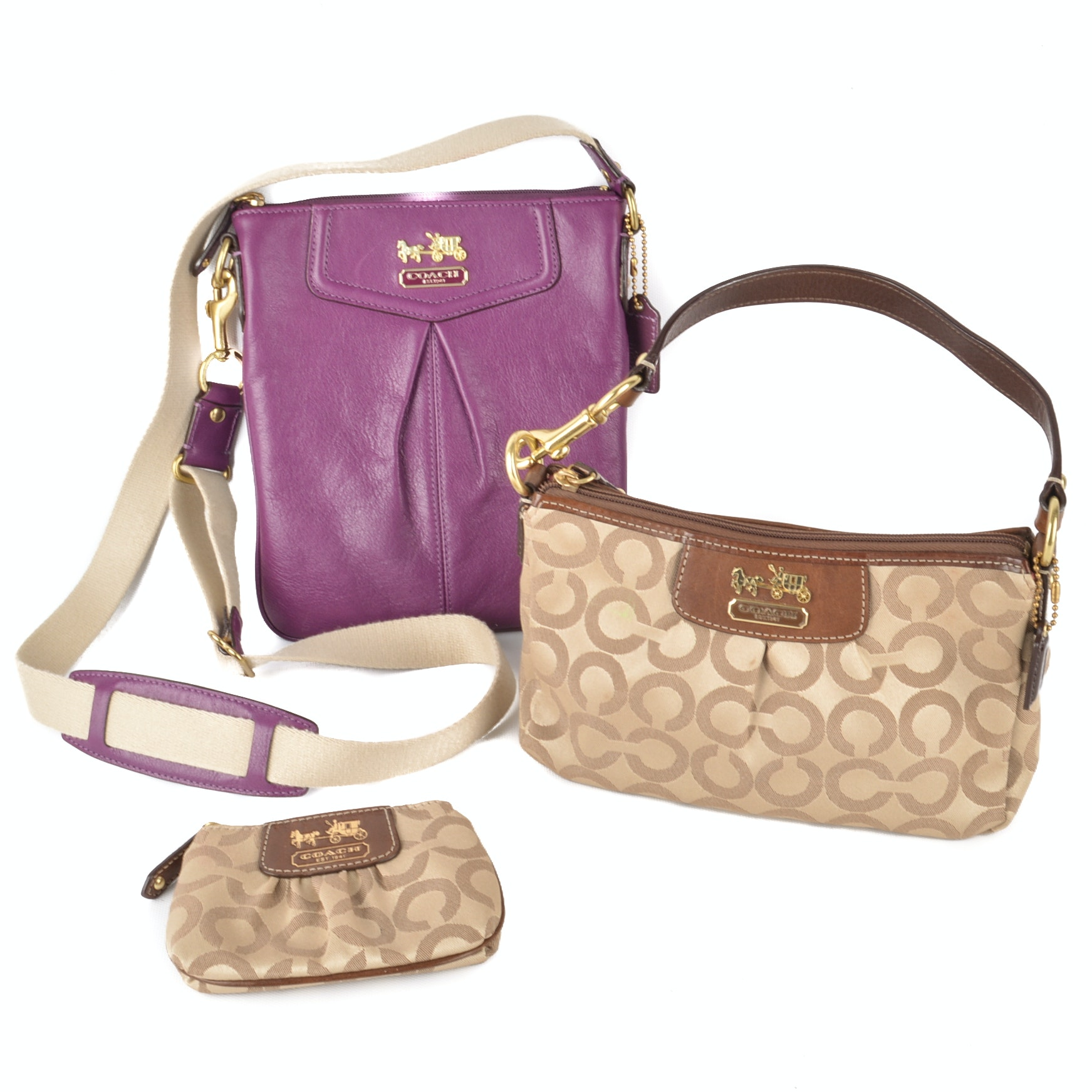 "Coach ""Madison"" Plum Leather Crossbody Bag and Classic Monogram Print Bag"