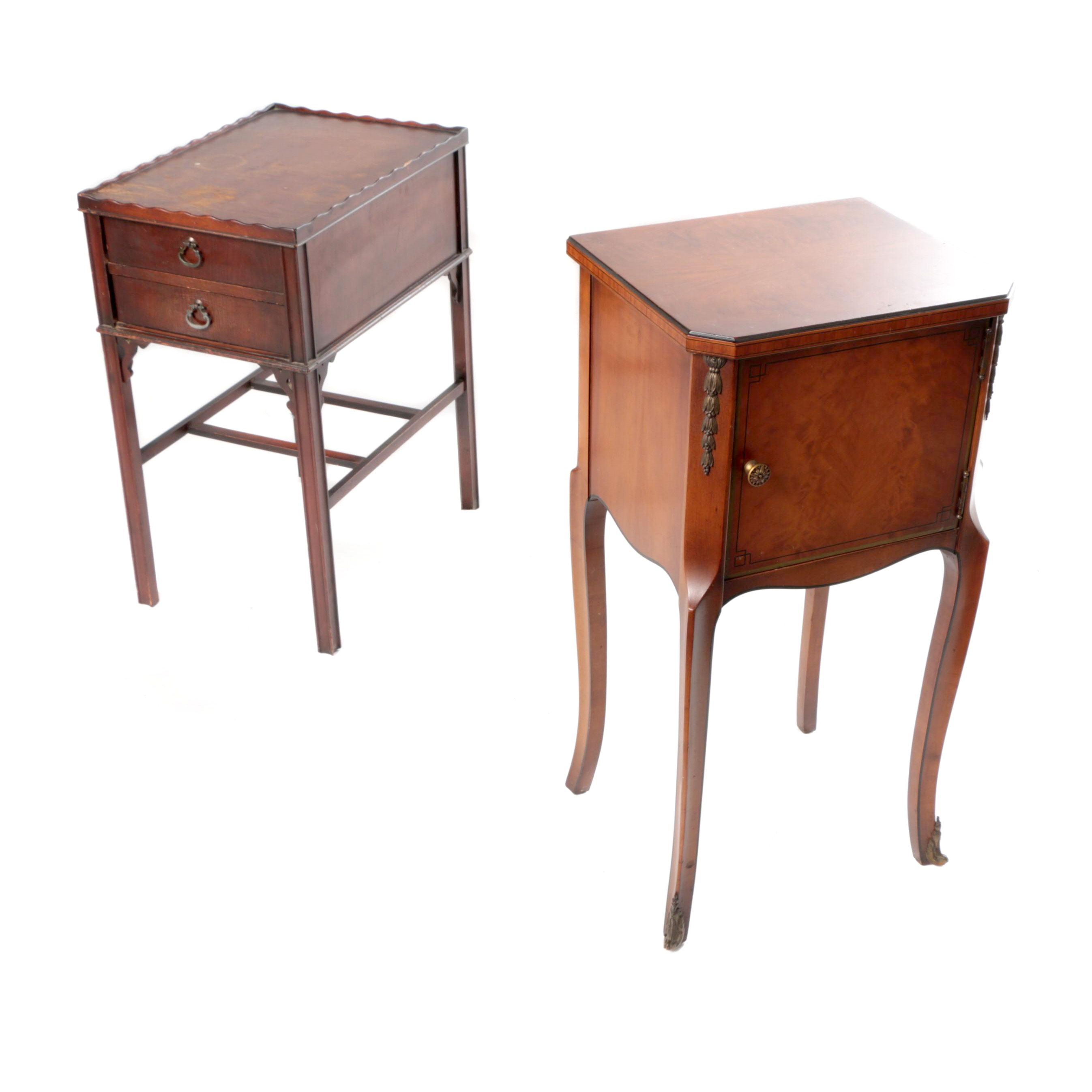 Vintage Humidor Side Table and Chippendale Style End Table