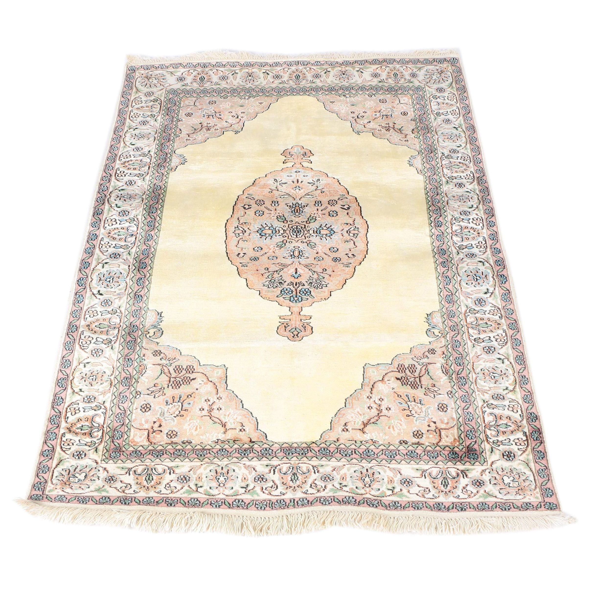 Hand-Knotted Indo-Persian Kerman Wool Area Rug