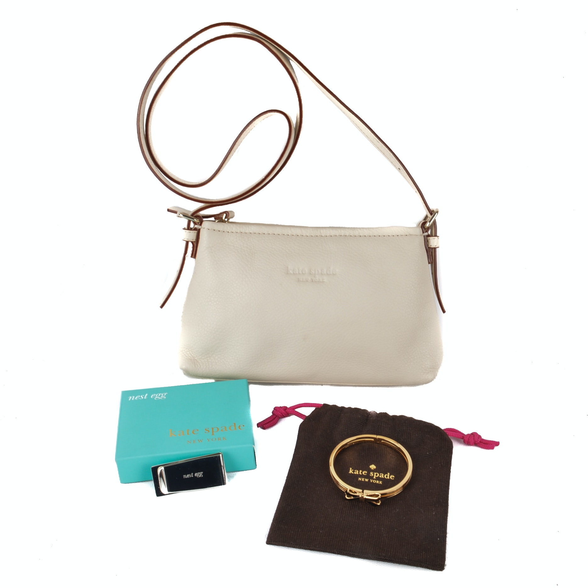 Kate Spade Cream Leather Crossbody Bag and Accessories