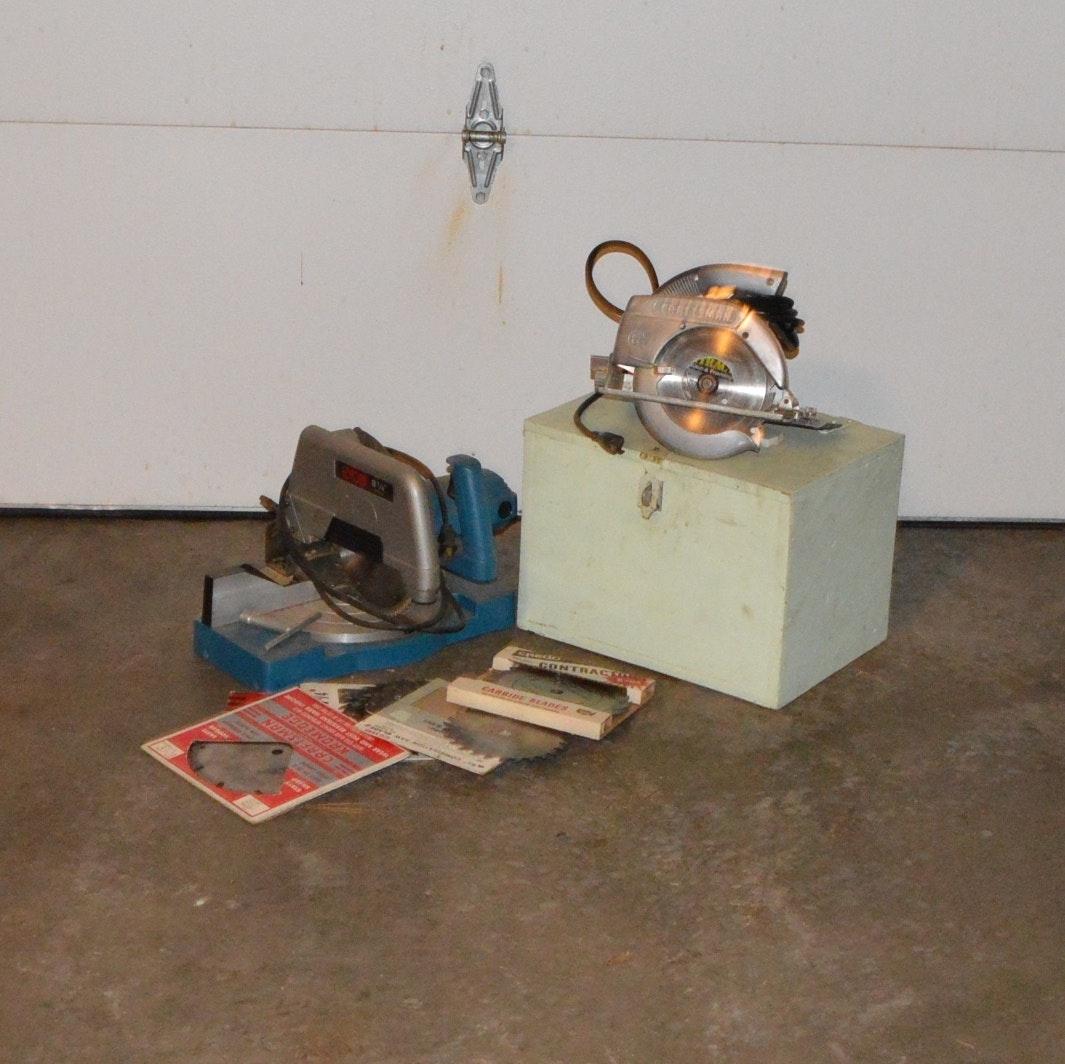 "Ryobi 8 1/4"" Compound Mitre Saw, Craftsman Circular and Blades"