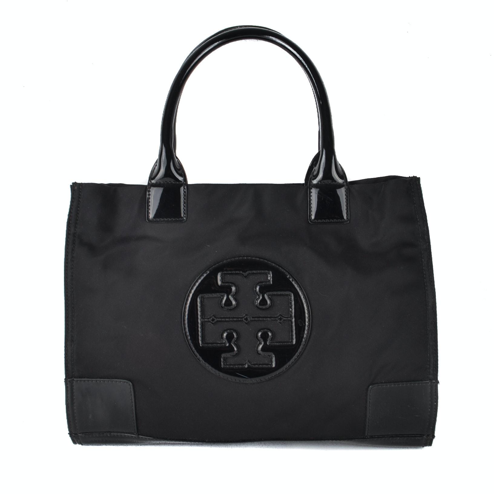 "Tory Burch Black Nylon and Patent Leather ""Ella"" Tote"