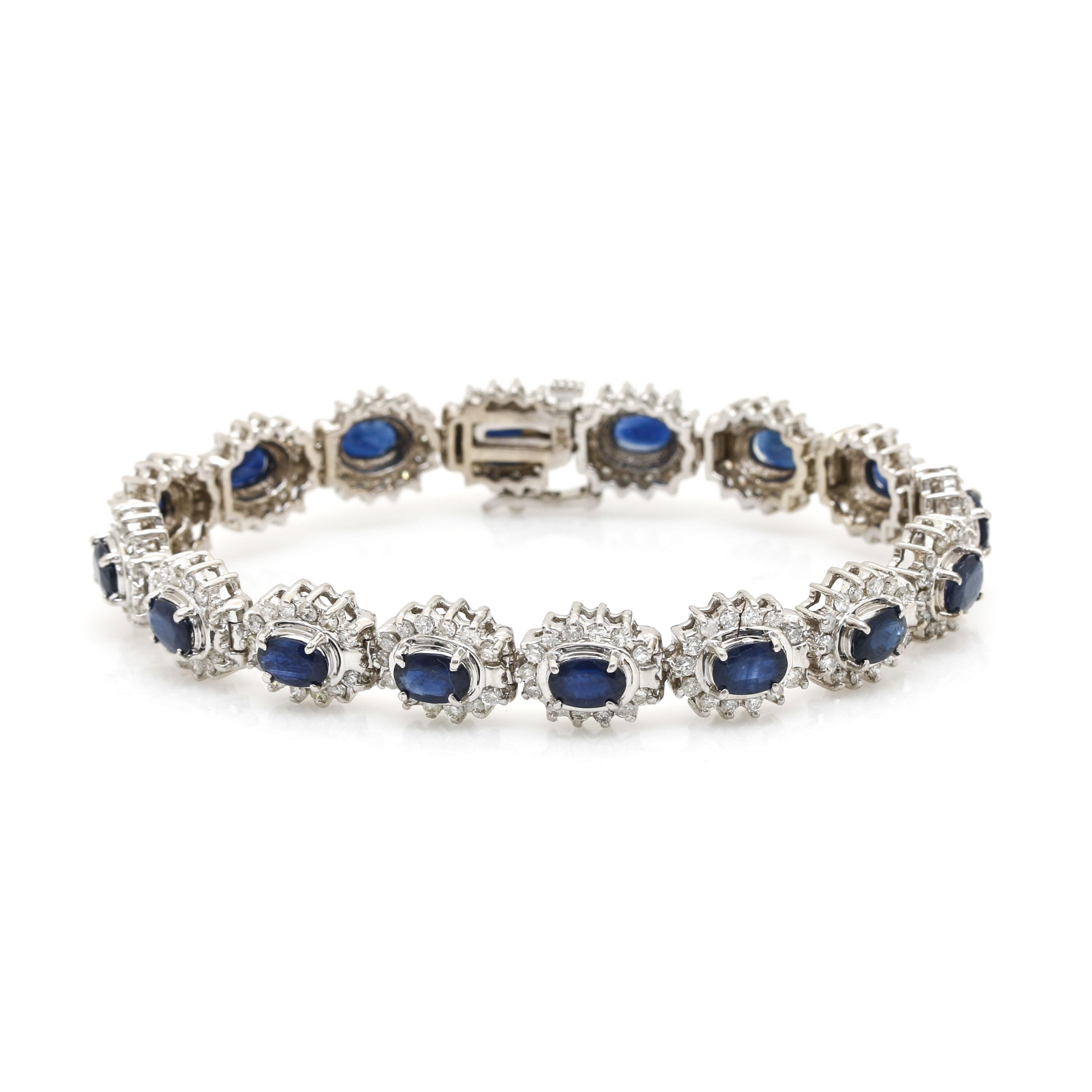 14K White Gold Sapphire and 3.12 CTW Diamond Tennis Bracelet