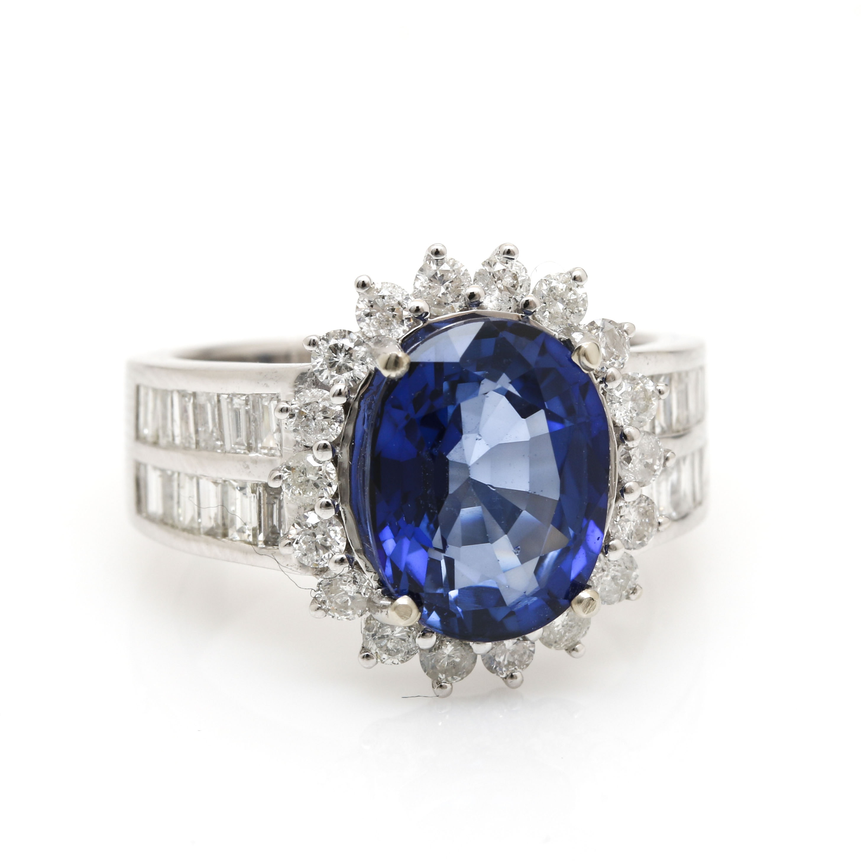 14K White Gold 4.43 CT Blue Sapphire and 1.25 CTW Diamond Ring