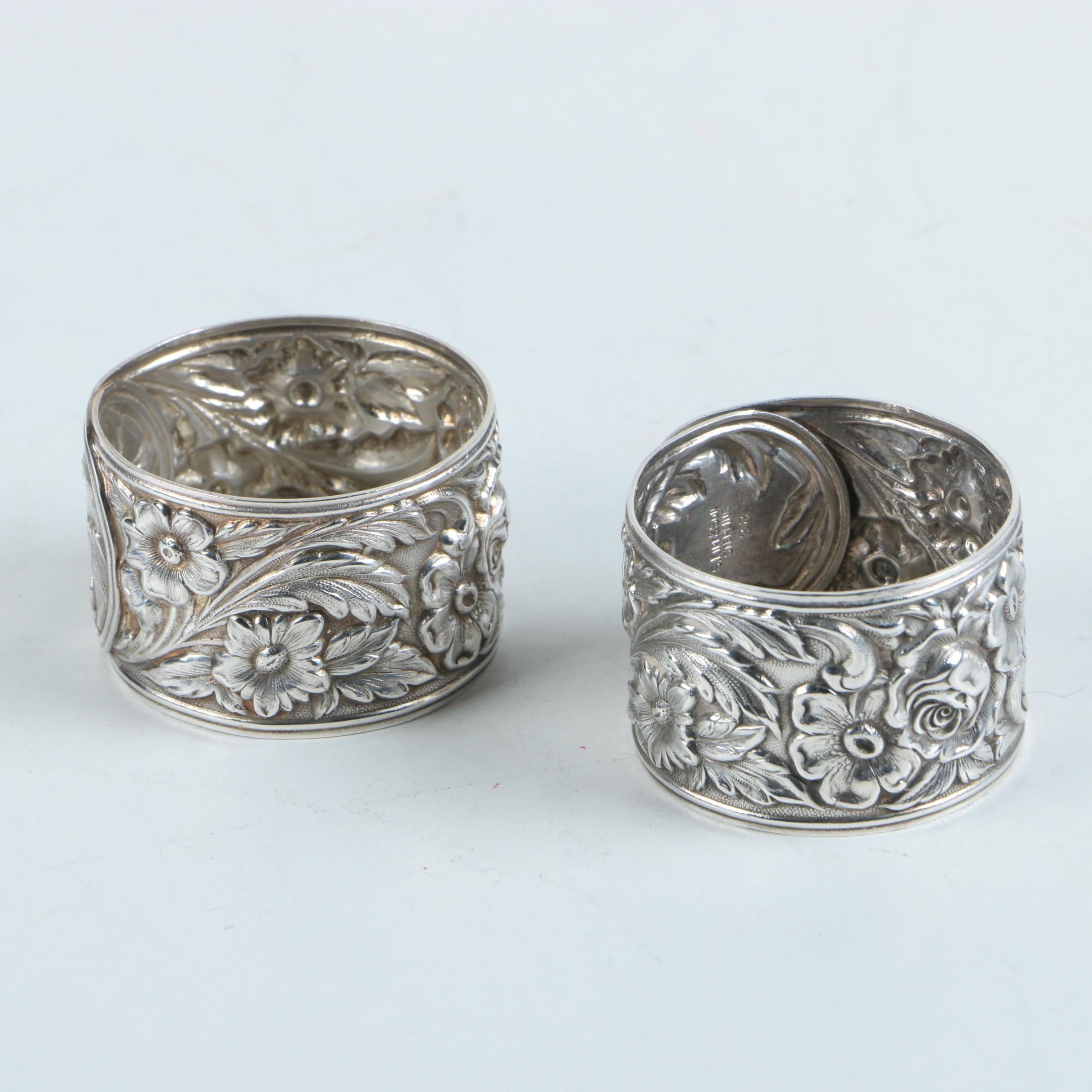 S. Kirk & Son Arabesque Repoussé Sterling Silver Napkin Rings