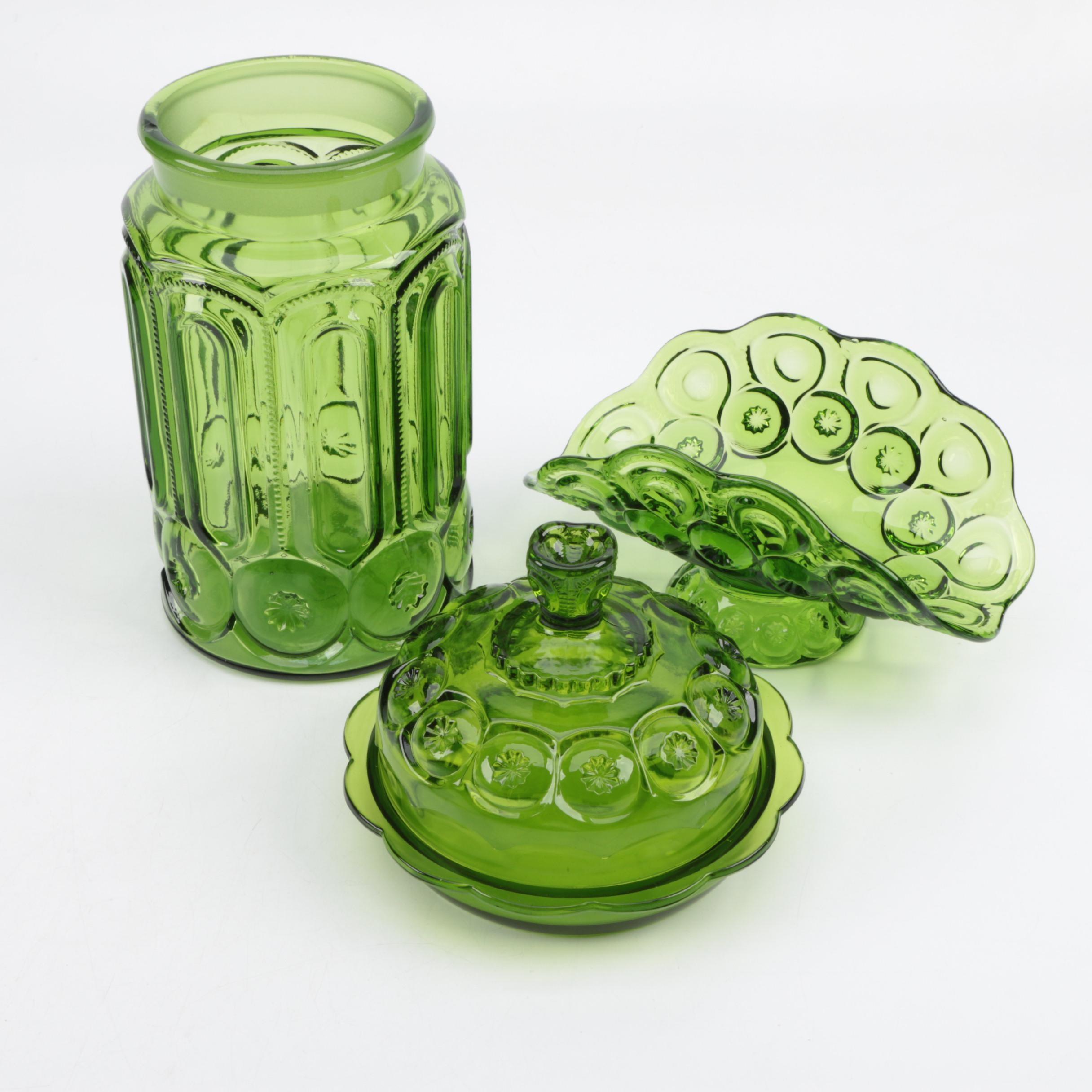"L.E. Smith ""Moon and Stars"" Green Depression Glass Tableware"