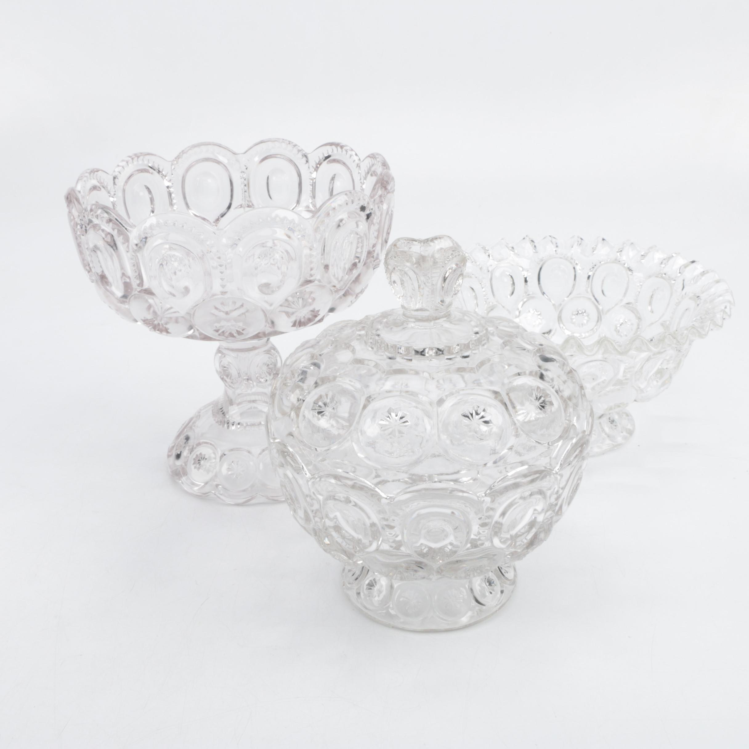 """L.E. Smith """"Moon and Stars"""" Clear Depression Glass Compotes"""