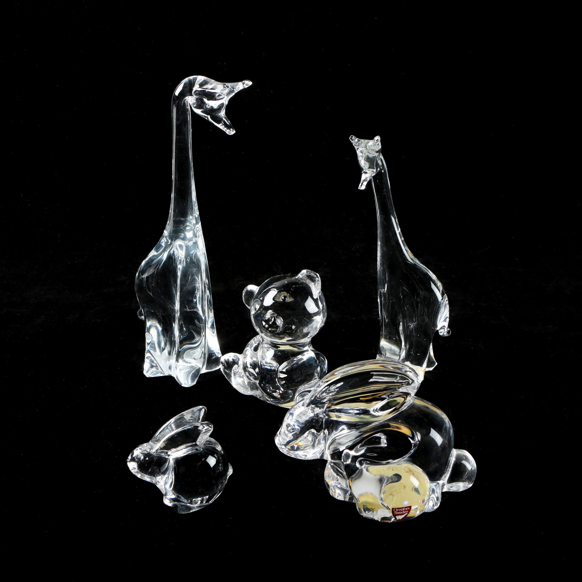 Glass and Crystal Animal Figurines Including Oneida