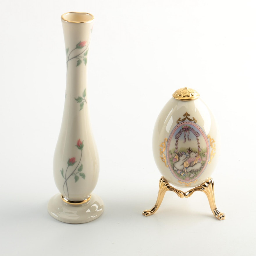 Lenox Quot Rose Manor Quot Bud Vase And Decorated Egg Ebth