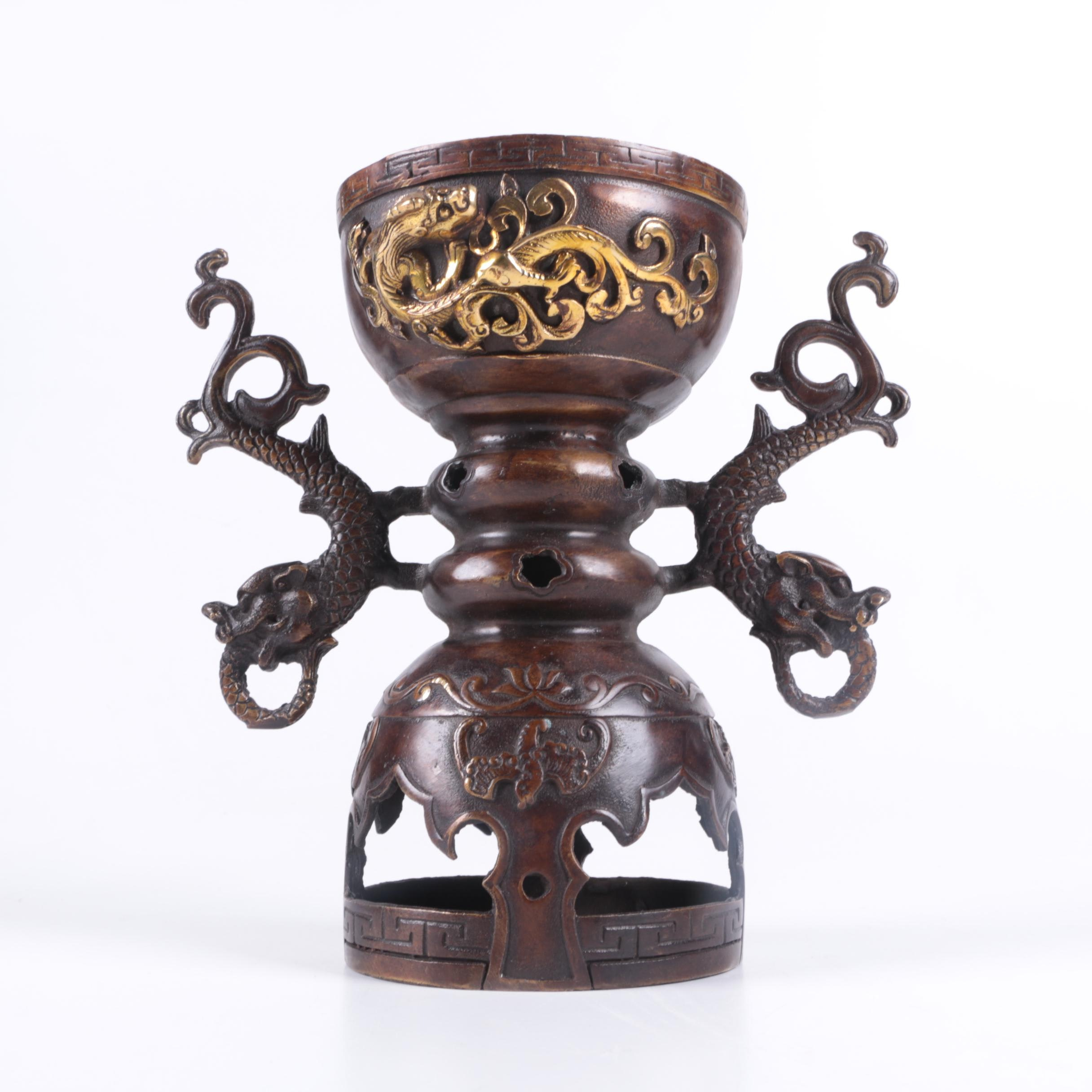 Vintage Chinese Bronze and Brass Censer