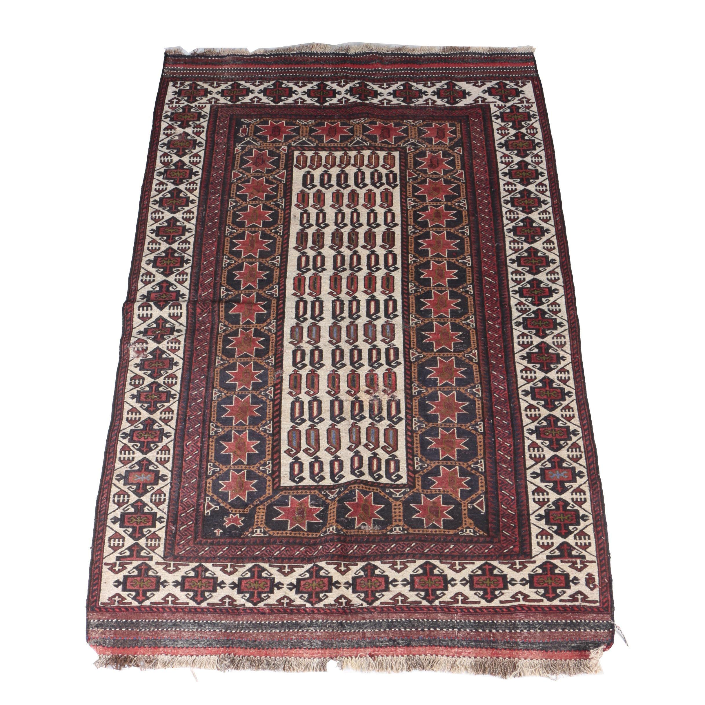 Handwoven Baluch Timuri Wool Soumak Area Rug
