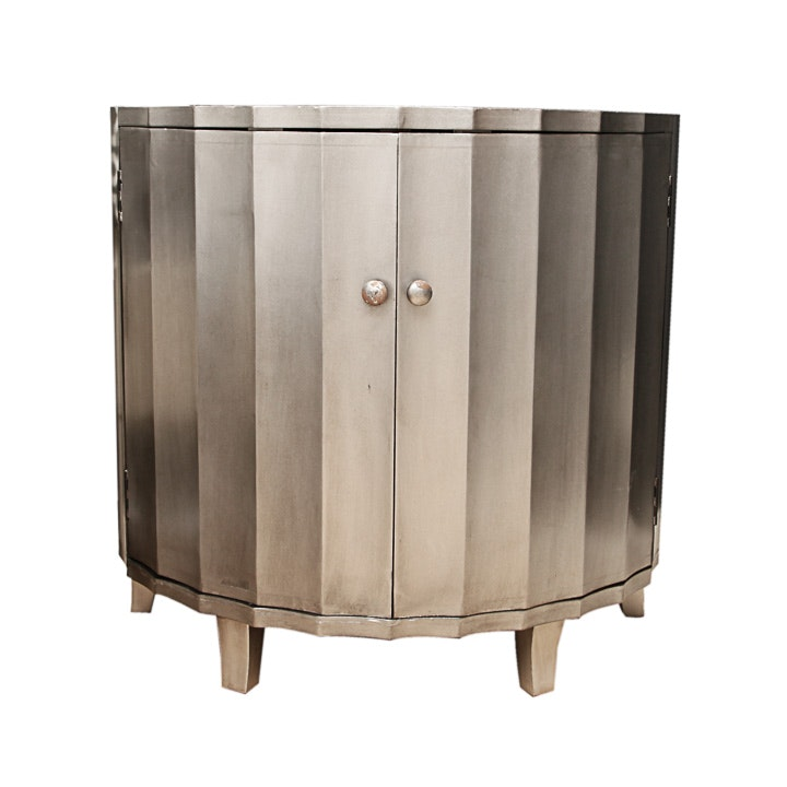Contemporary Painted Demilune Cabinet
