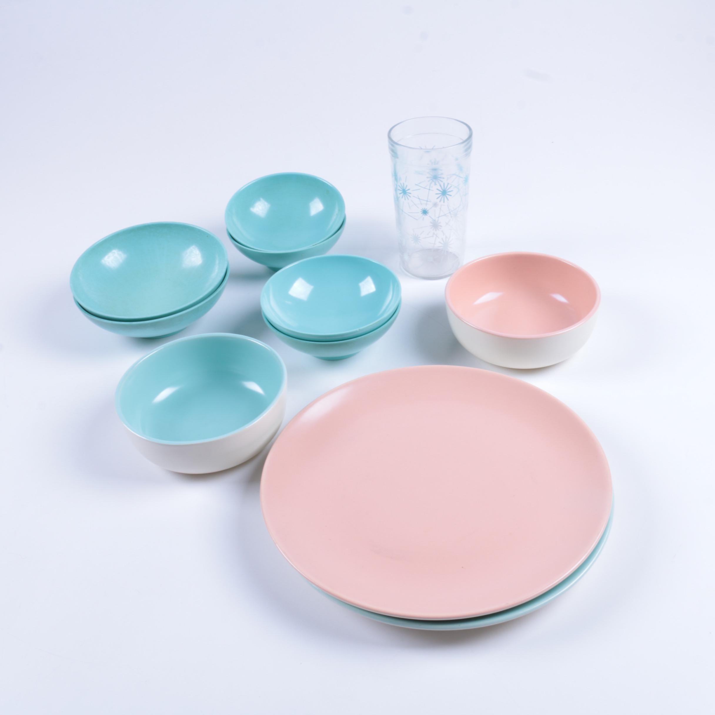 Vintage Melamine and Ceramic Dishes Featuring Texas Ware