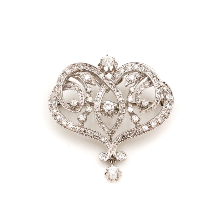 14K White Gold 2.04 CTW Diamond Belle Époque Style Brooch