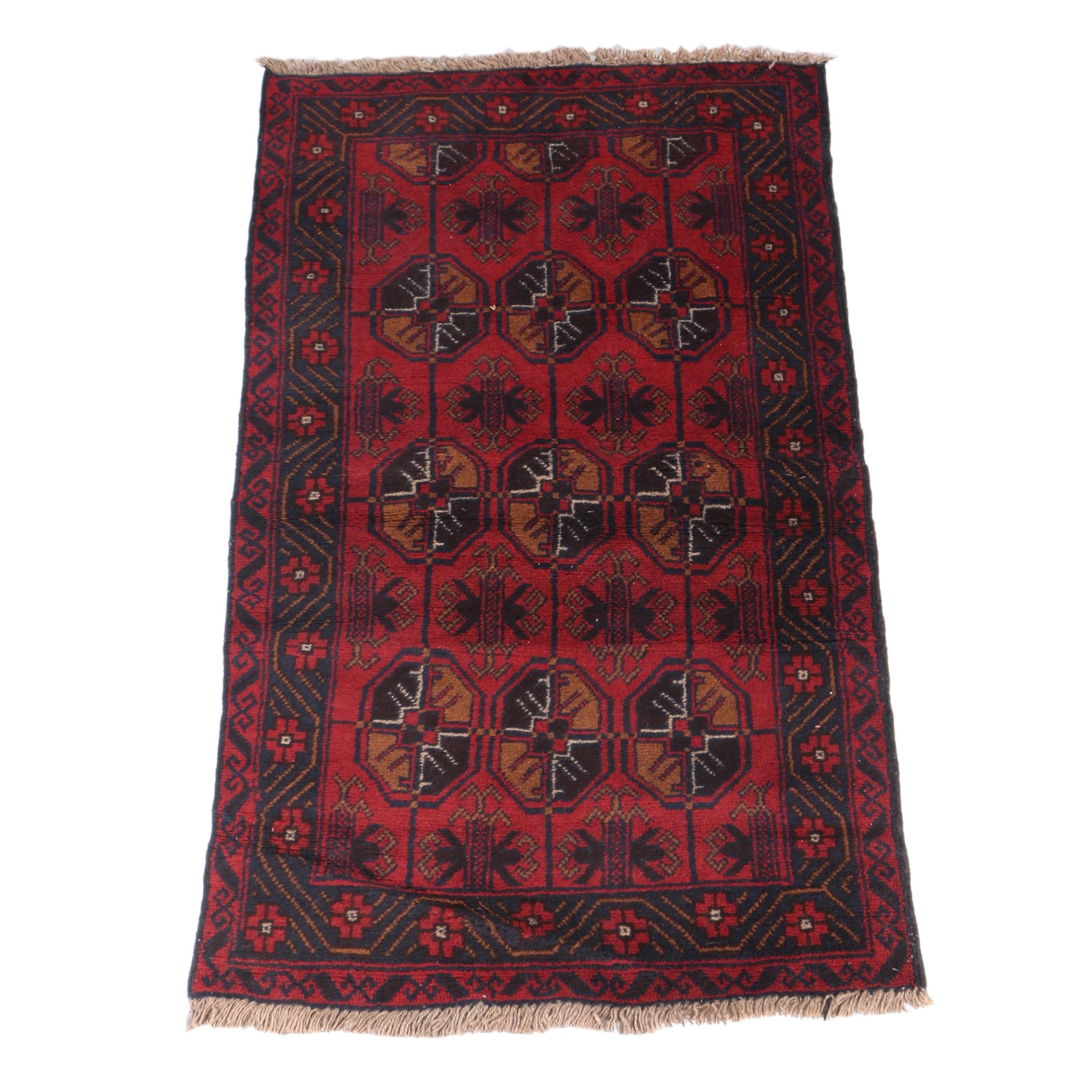 Hand-Knotted Turkmen Area Rug
