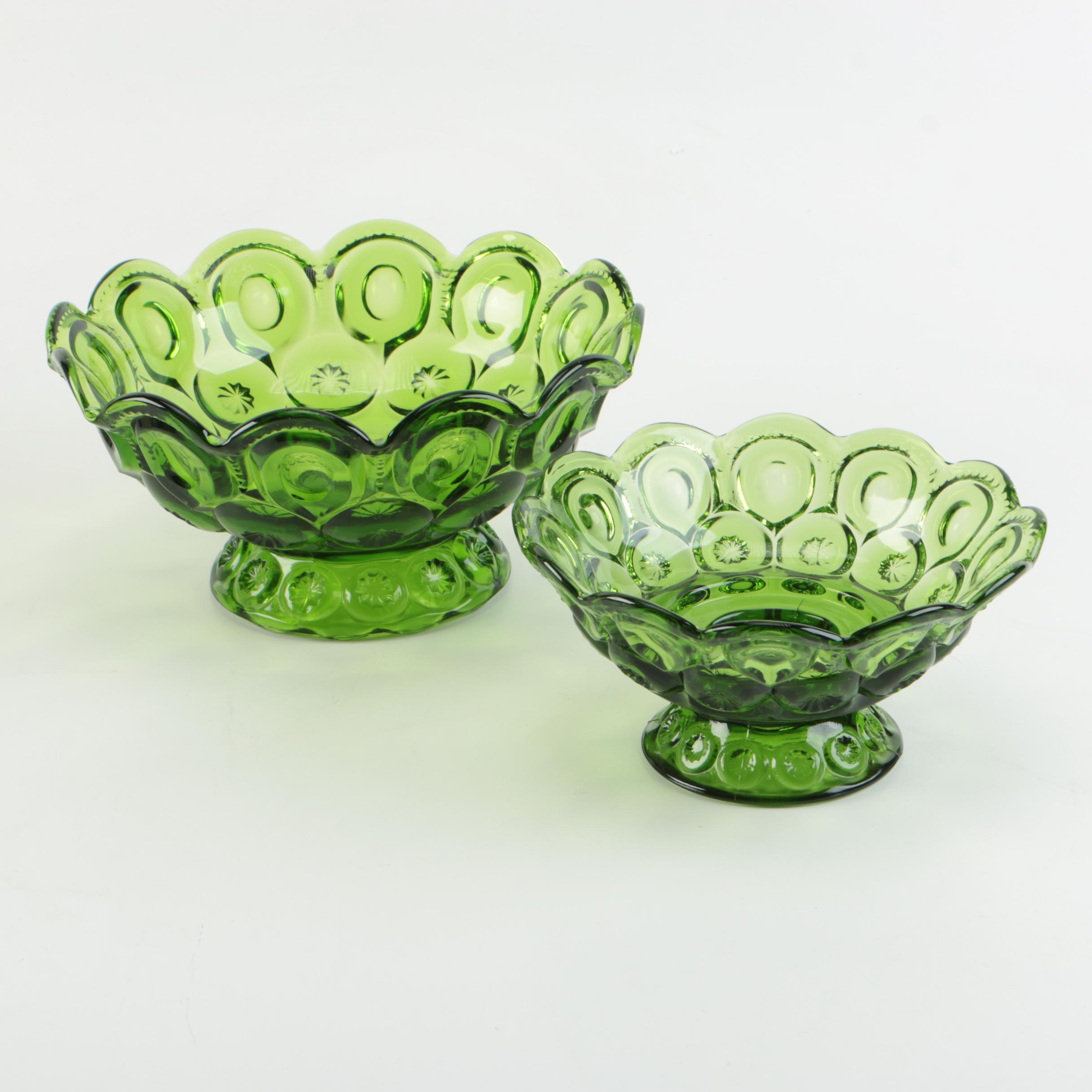 "L.E. Smith ""Moon and Stars"" Green Depression Glass Compotes"