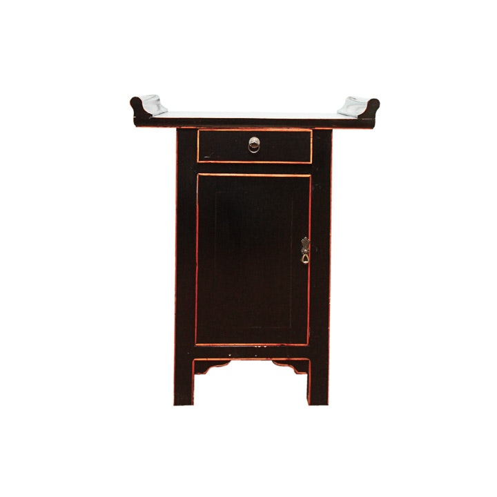 Asian Black Lacquered Cabinet