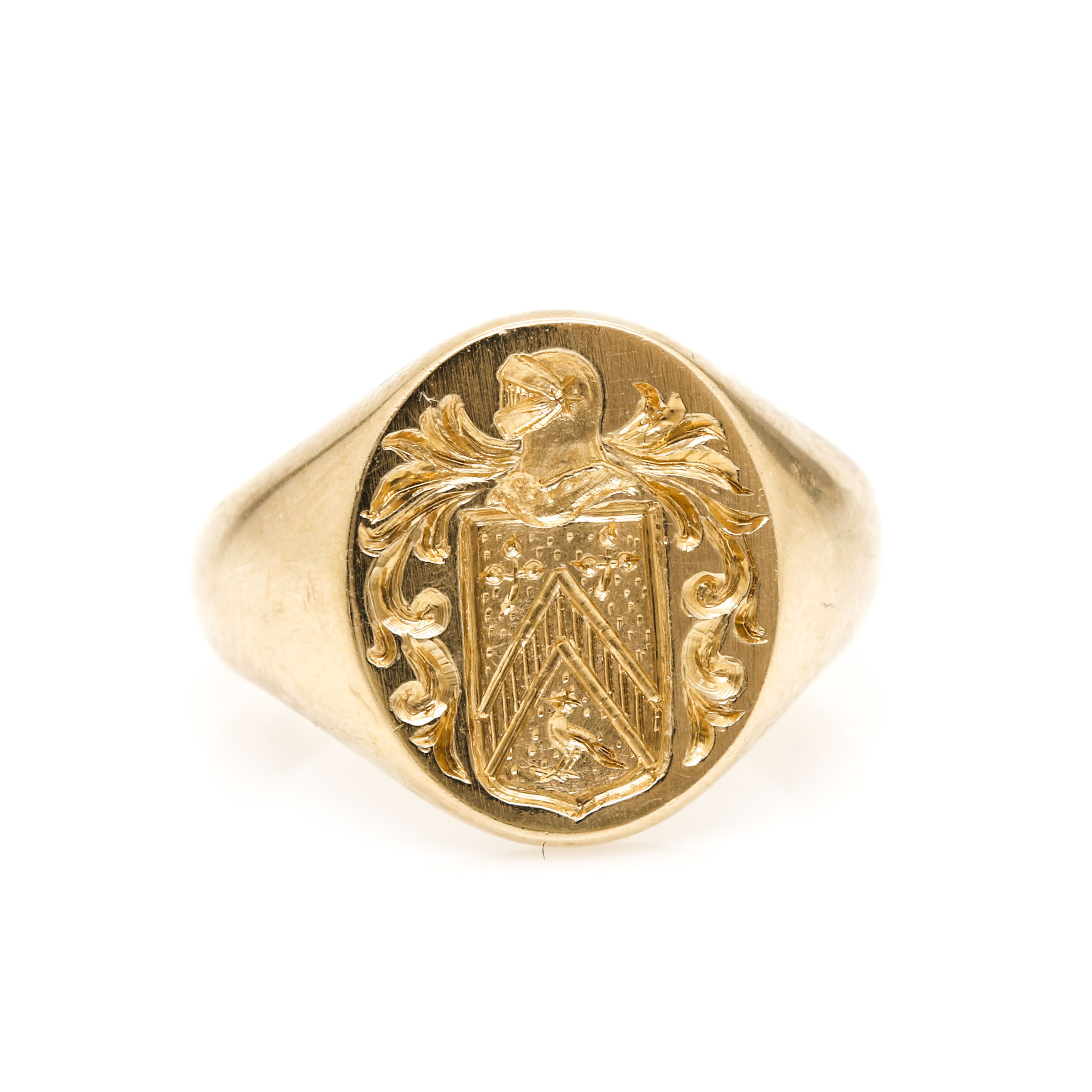 14K Yellow Gold Signet Ring with Crest