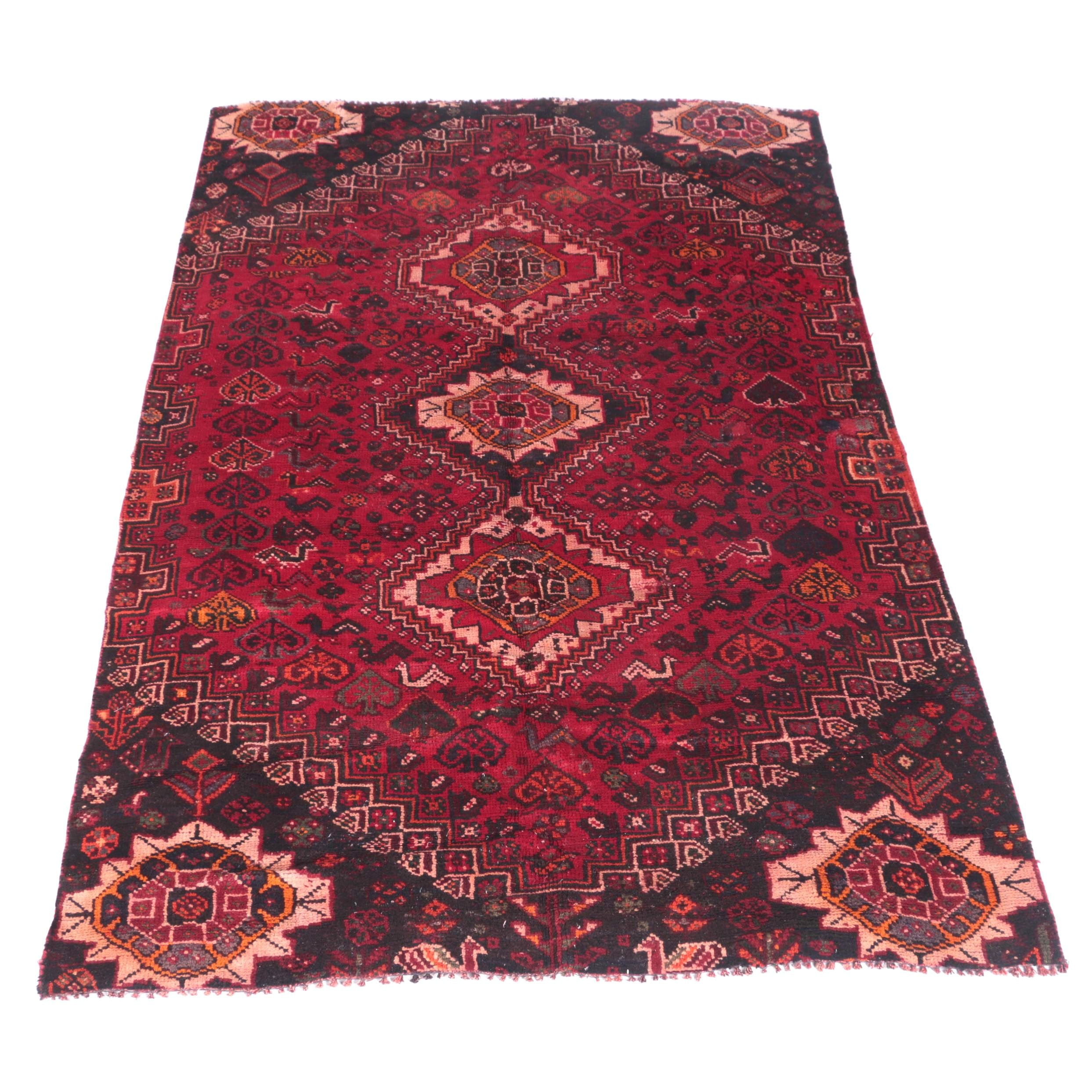 Hand-Knotted Indo-Qashqai Area Rug