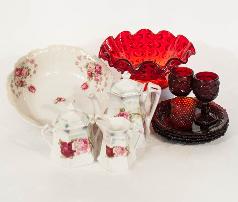 Mid Century Red glass & German China pieces