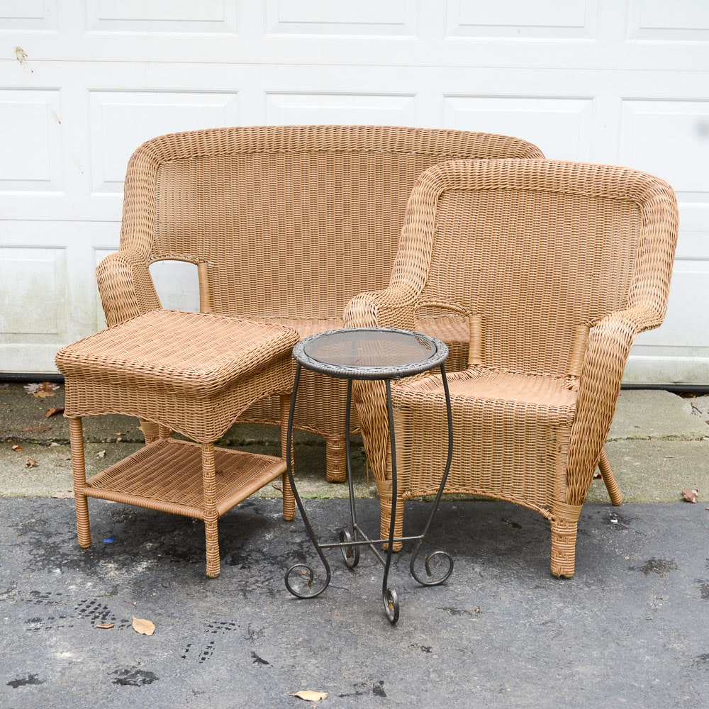 Three-Piece Wicker Patio Set with Metal Accent Table