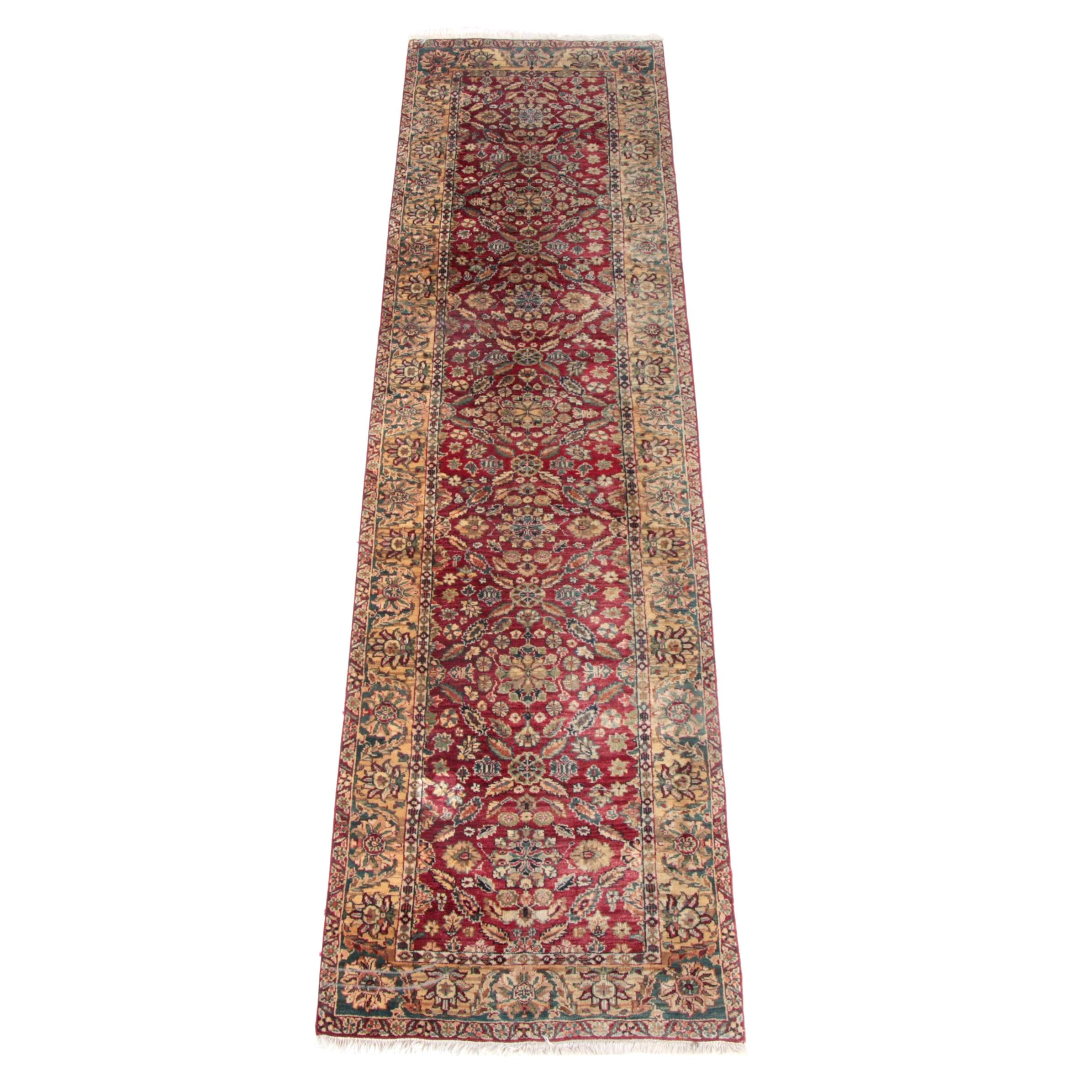 Hand-Knotted Indo-Persian Peshawar Style Wool Carpet Runner
