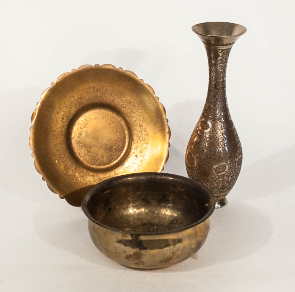 Etched Indian Brass Vase with Plate and Hammered Bowl