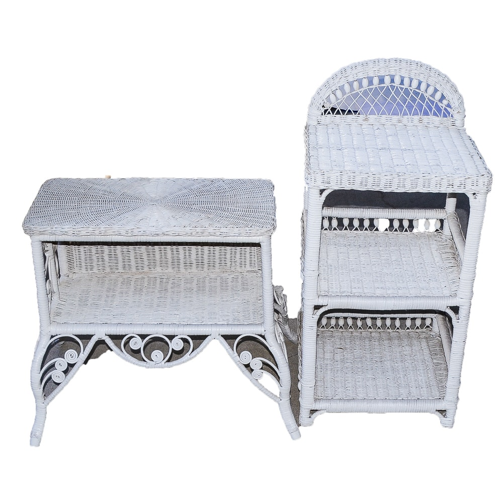 Vintage White Wicker Side Table and Shelving Unit
