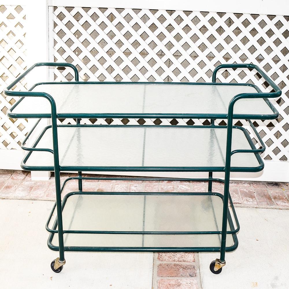 Vintage Metal Three Tiered Bar Cart