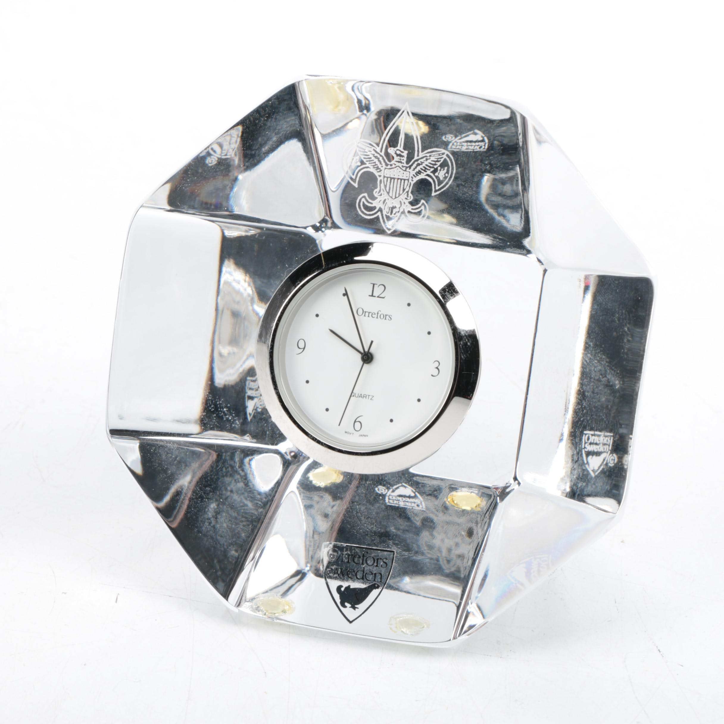 Orrefors Art Deco Crystal Desk Clock