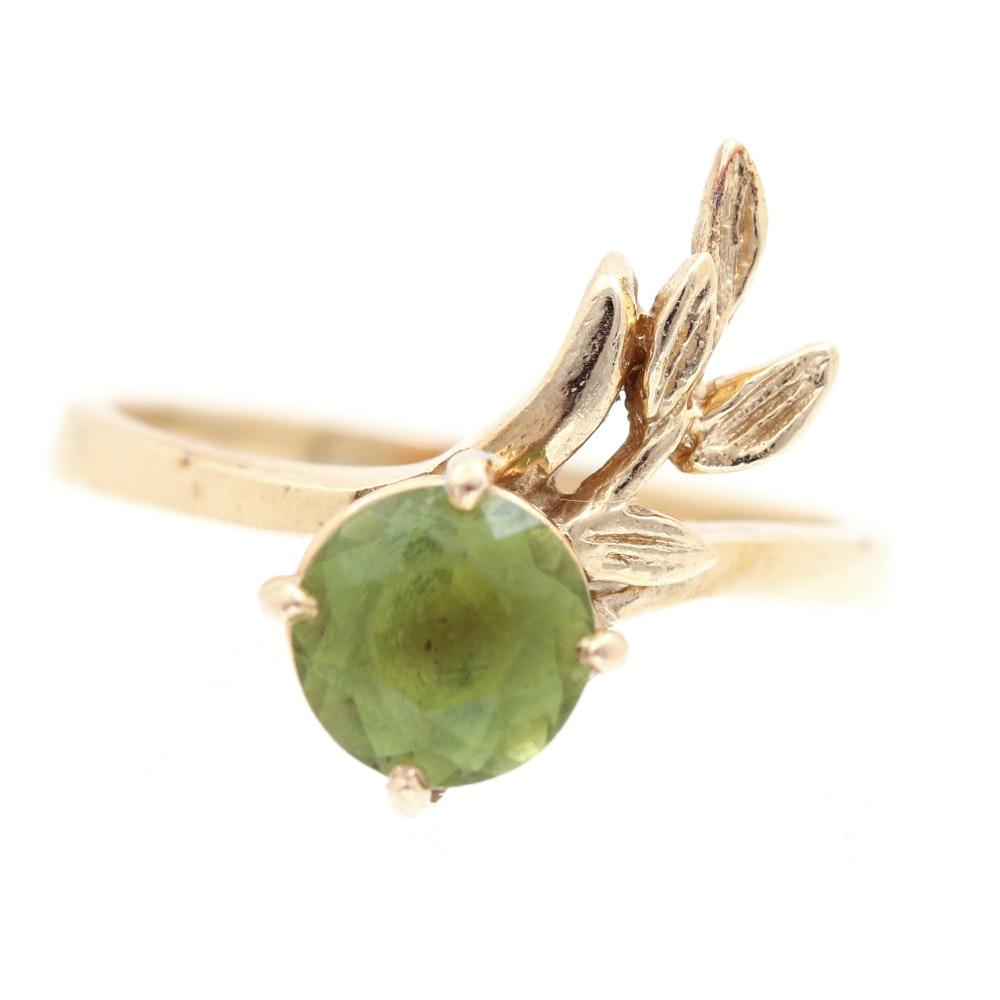 14K Yellow Gold Peridot Foliate Ring