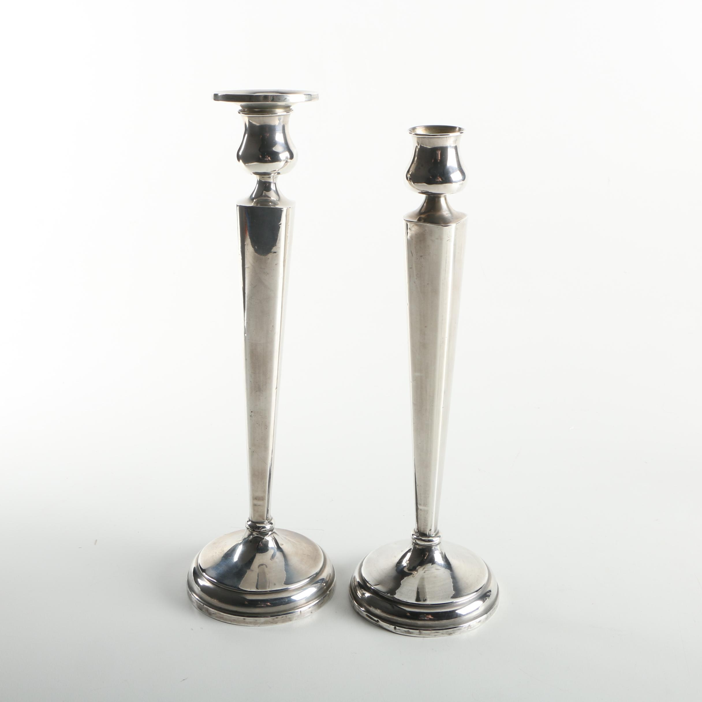 Pair of Hallmark Reinforced Sterling Silver Candleholders