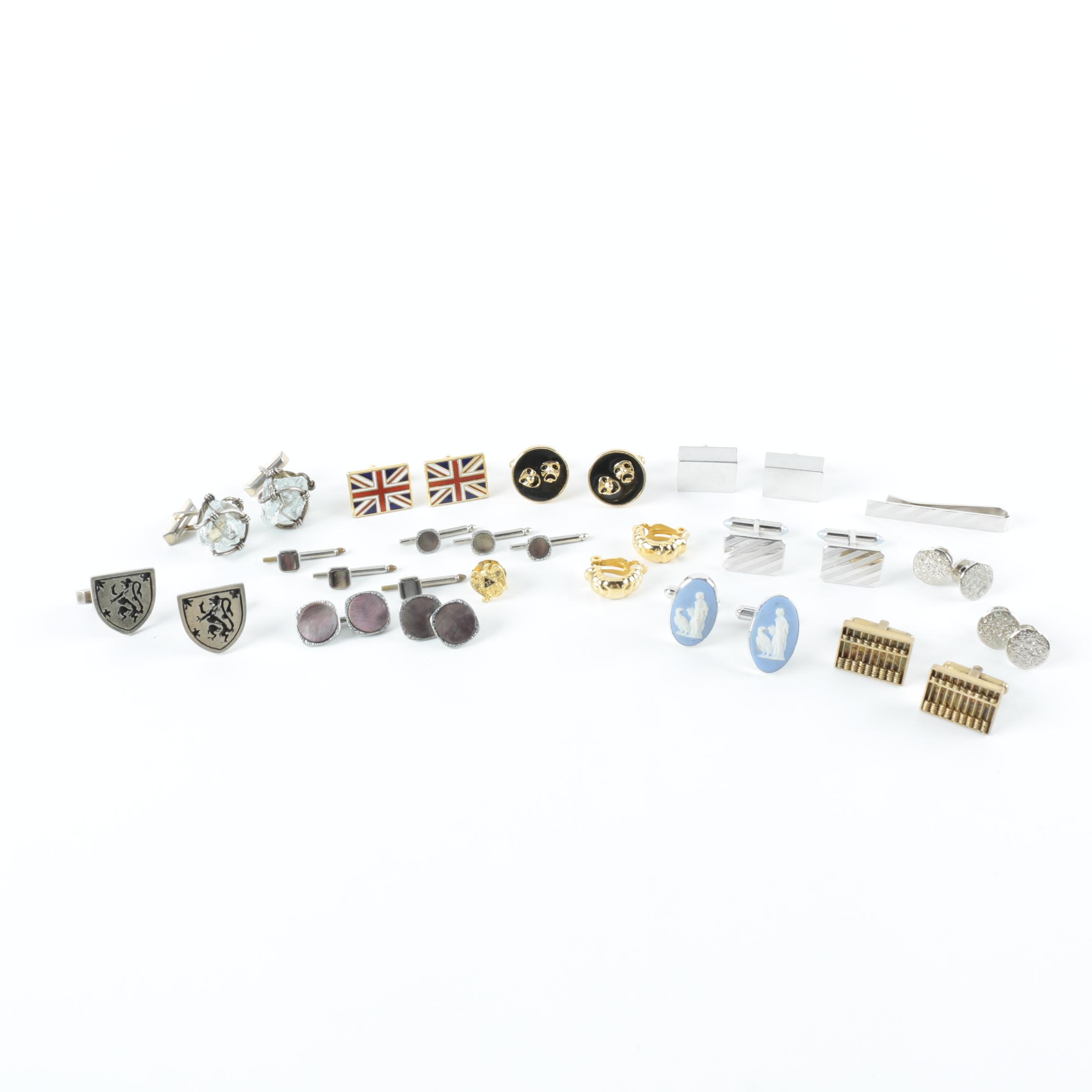 Collection of Cufflinks and Other Jewelry Including Sterling Silver