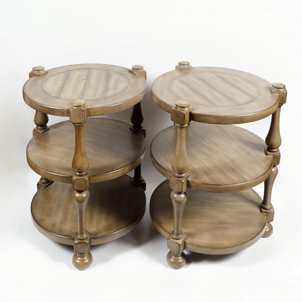 Pair of Round Tiered Tables