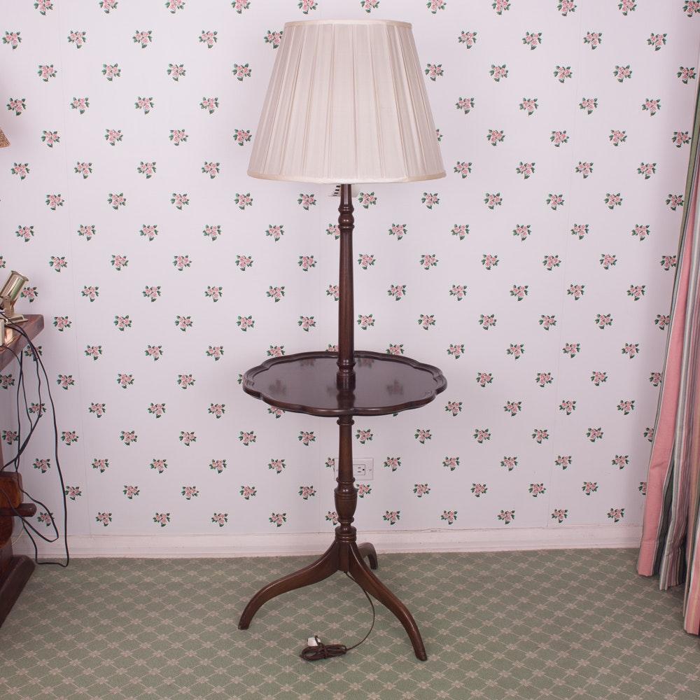 Pie Crust Tray Table Floor Lamp