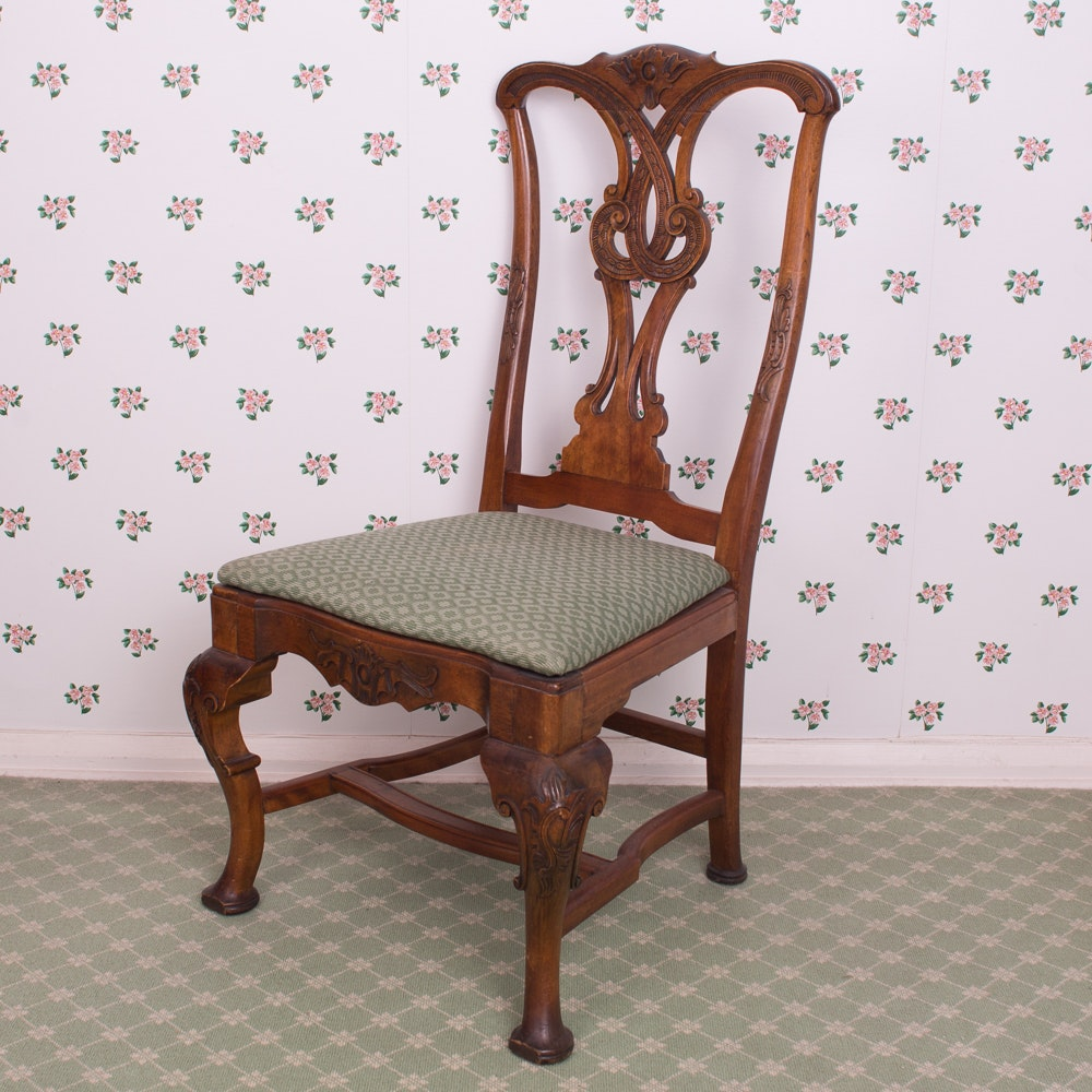 Vintage Carved Walnut Chippendale Style Side Chair