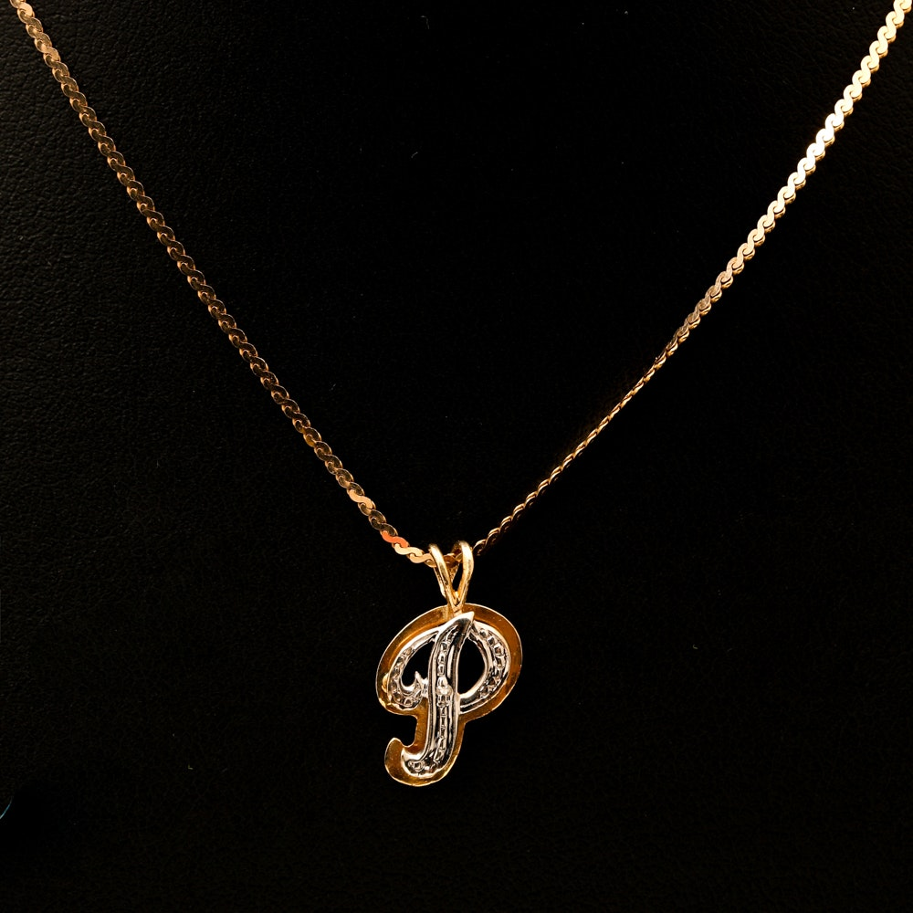 """14K Yellow Gold """"P"""" Initial Pendant Necklace"""