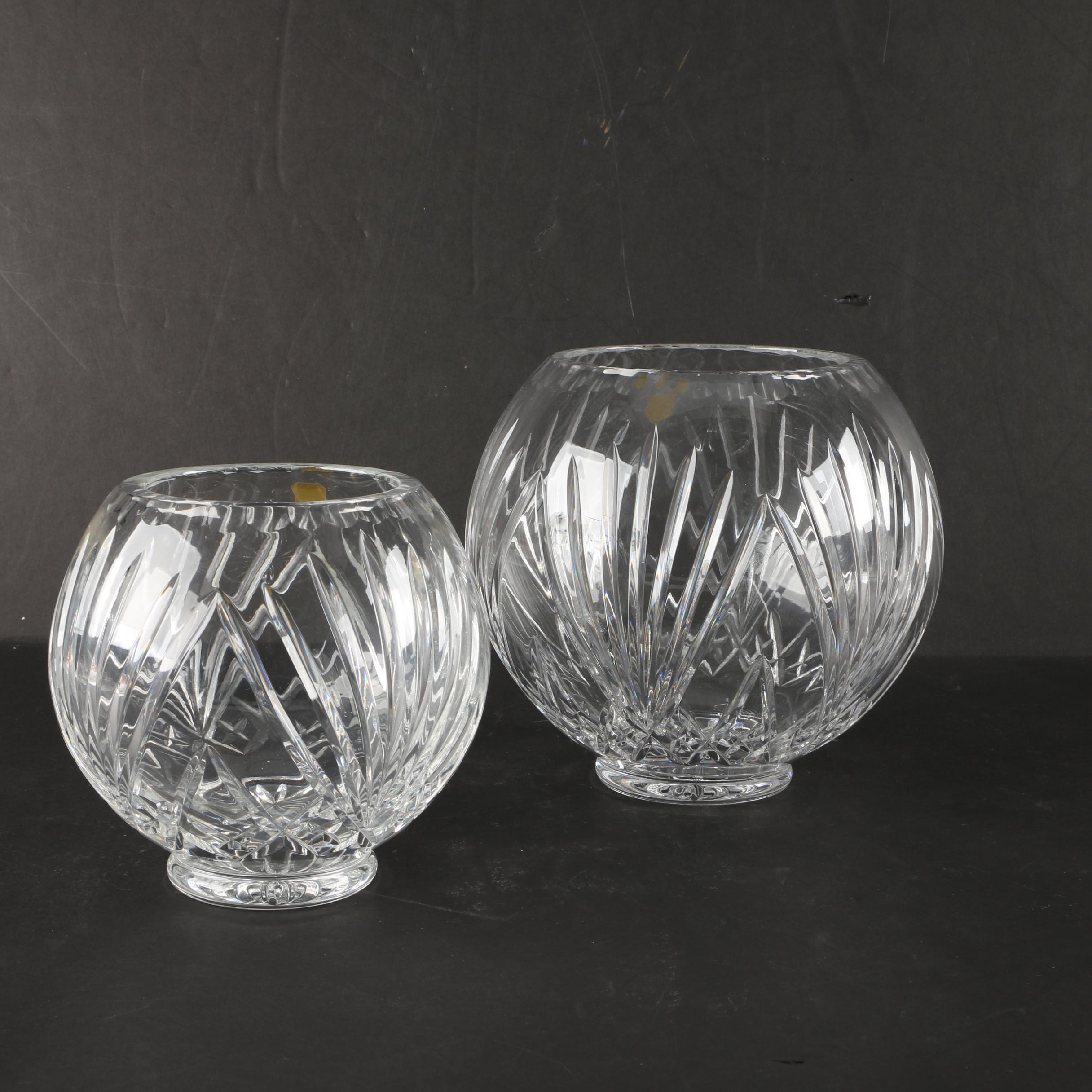 Vintage Hand Cut Leaded Crystal Rose Bowl Vases