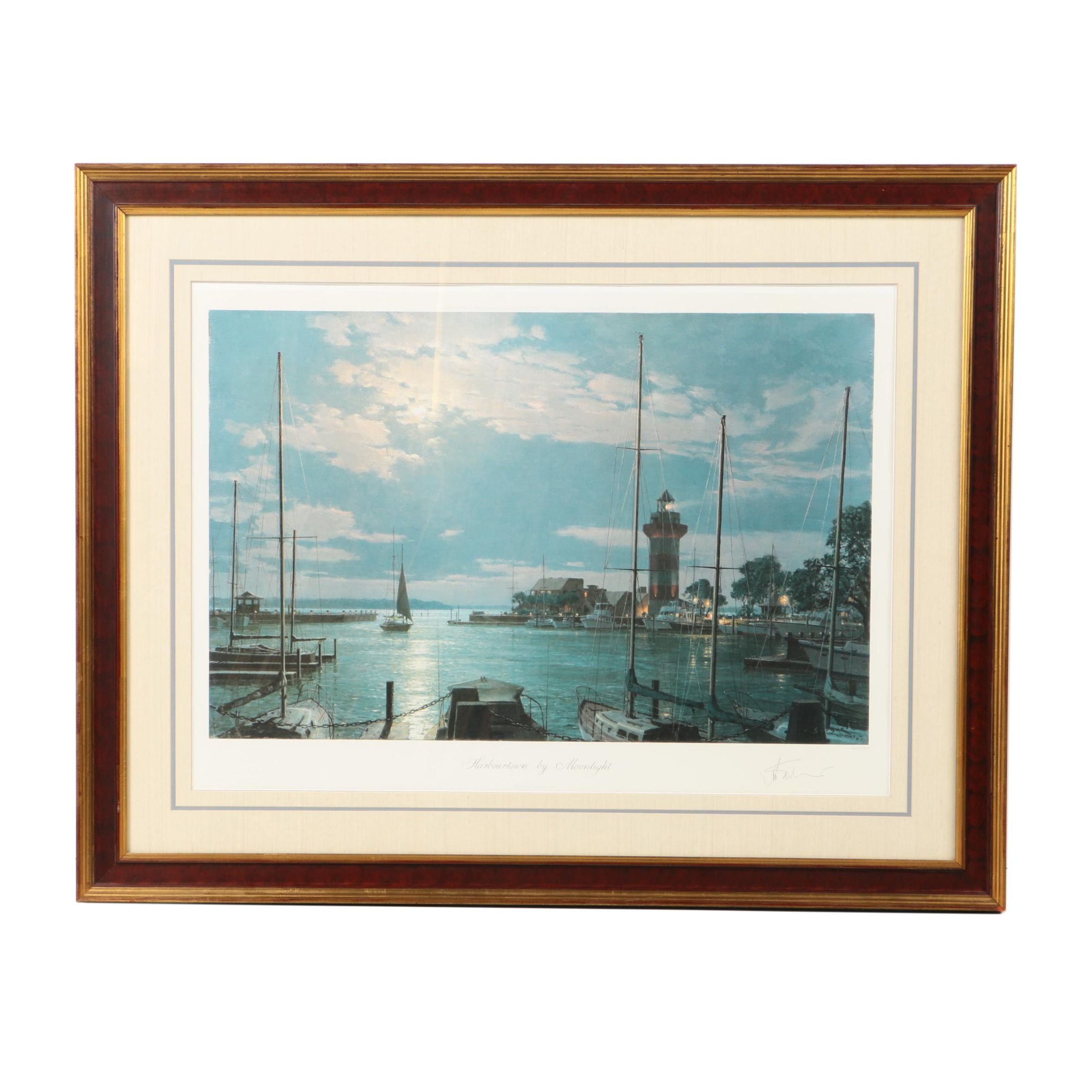 """John Stobart Limited Edition Offset Lithograph """"Harbourtown by Moonlight"""""""