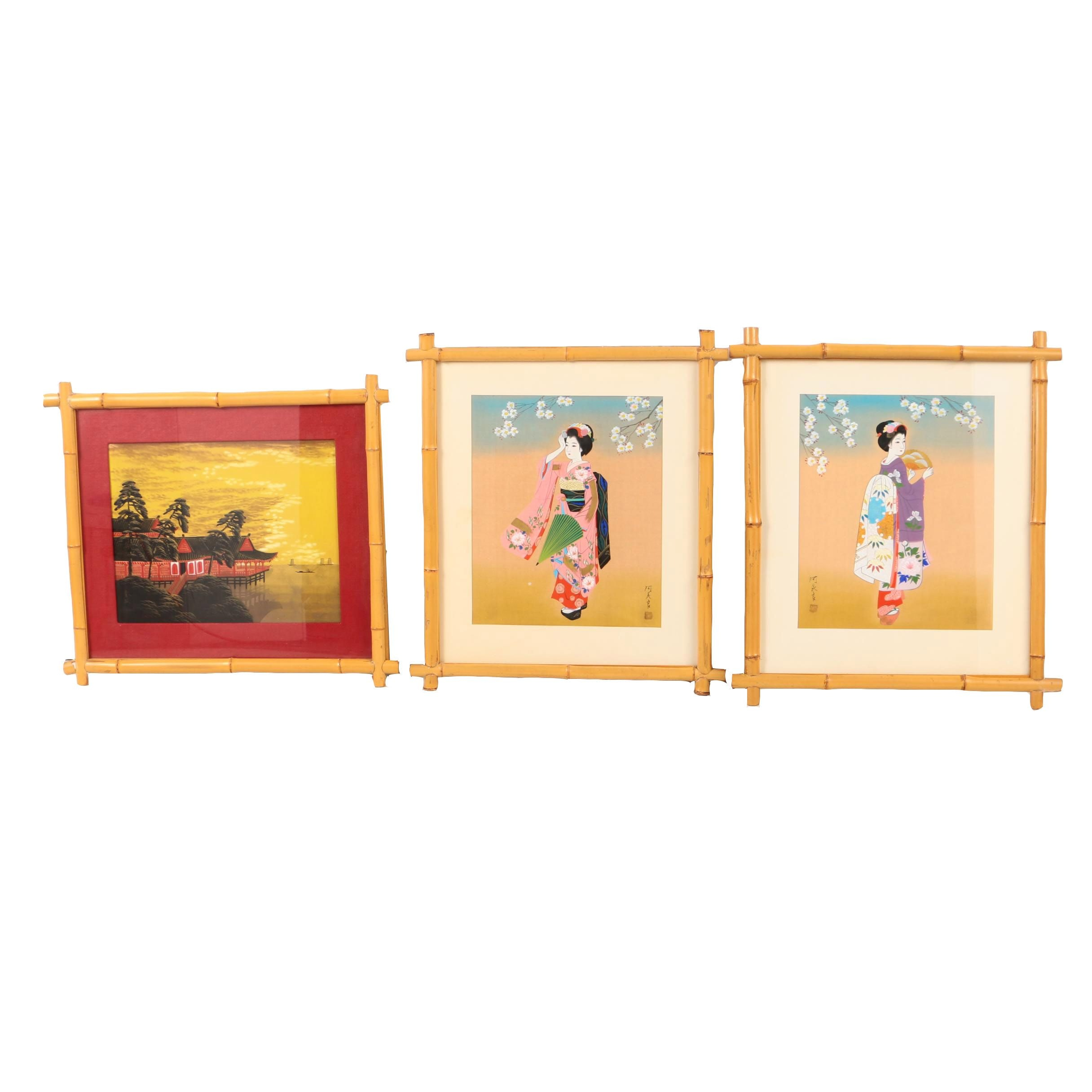 Collection of East Asian Gouache and Ink Paintings on Linen